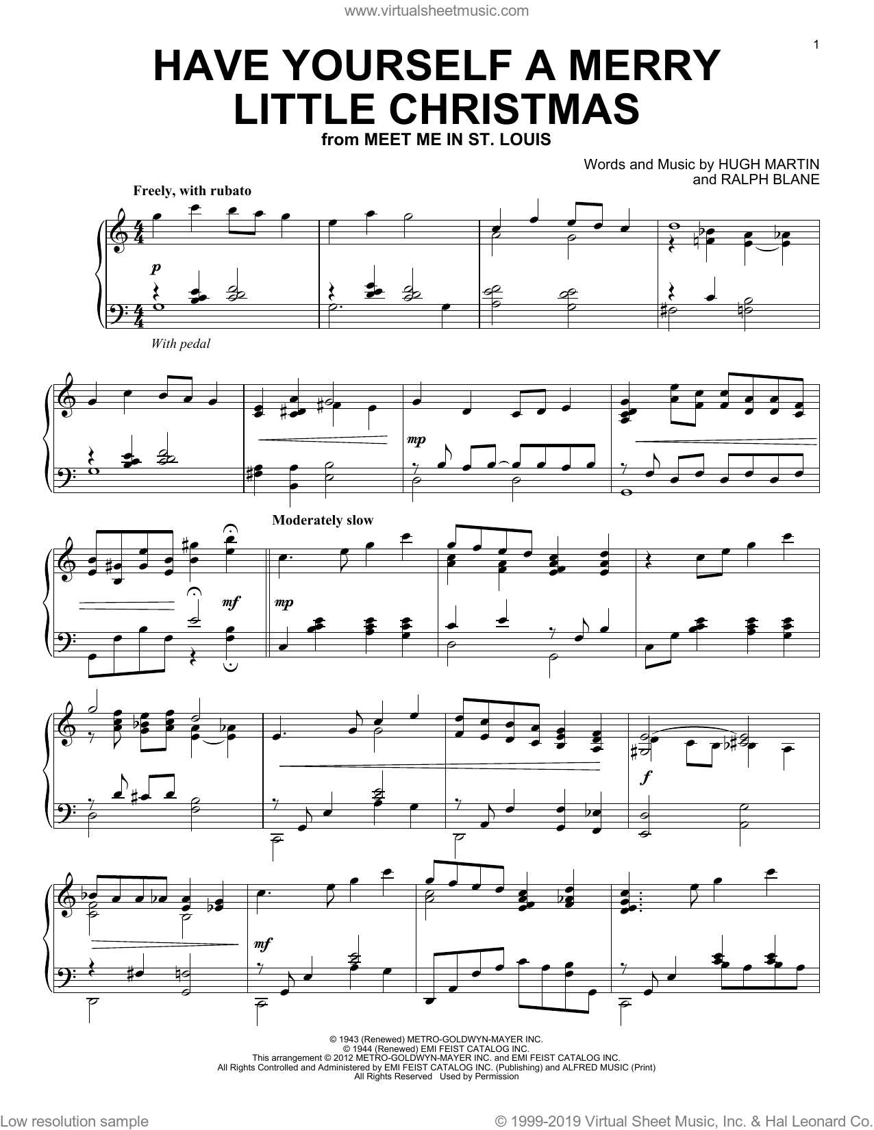 Have Yourself A Merry Little Christmas sheet music for piano solo by Hugh Martin and Ralph Blane, intermediate skill level