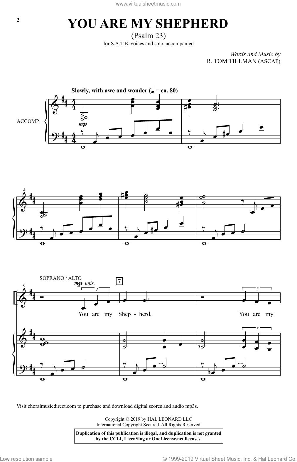 You Are My Shepherd (Psalm 23) sheet music for choir (SATB: soprano, alto, tenor, bass) by R. Tom Tillman, intermediate skill level
