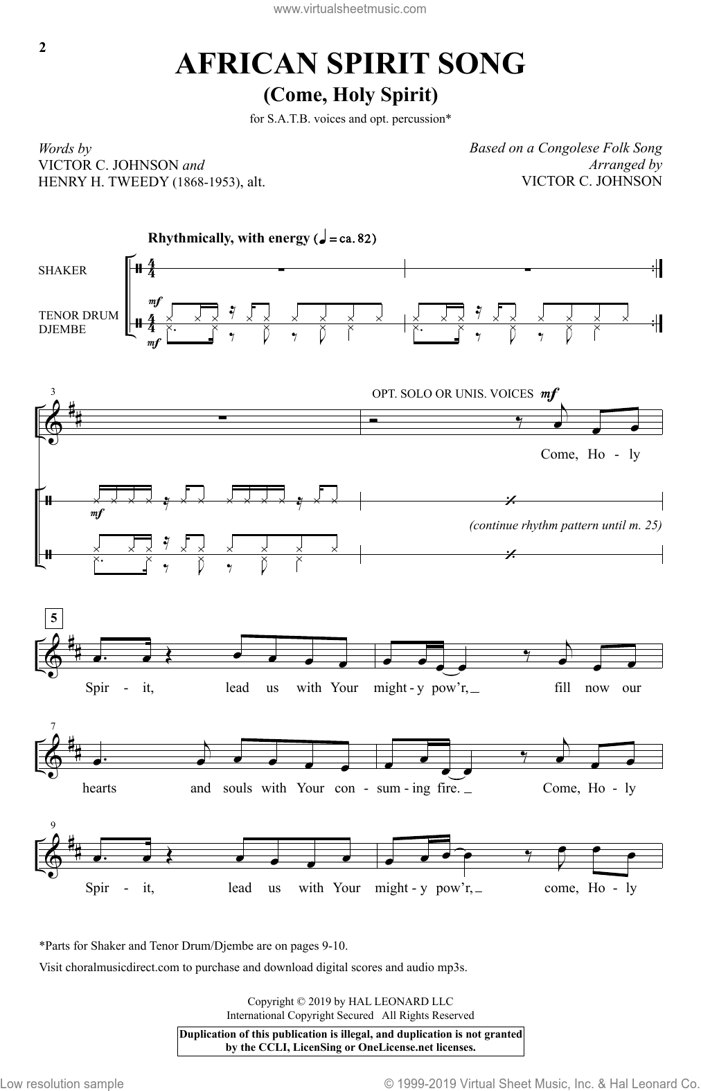African Spirit Song (Come, Holy Spirit) (arr. Victor C. Johnson) sheet music for choir (SATB: soprano, alto, tenor, bass) by Henry H. Tweedy, Victor Johnson and Congalese Folk Song, intermediate skill level