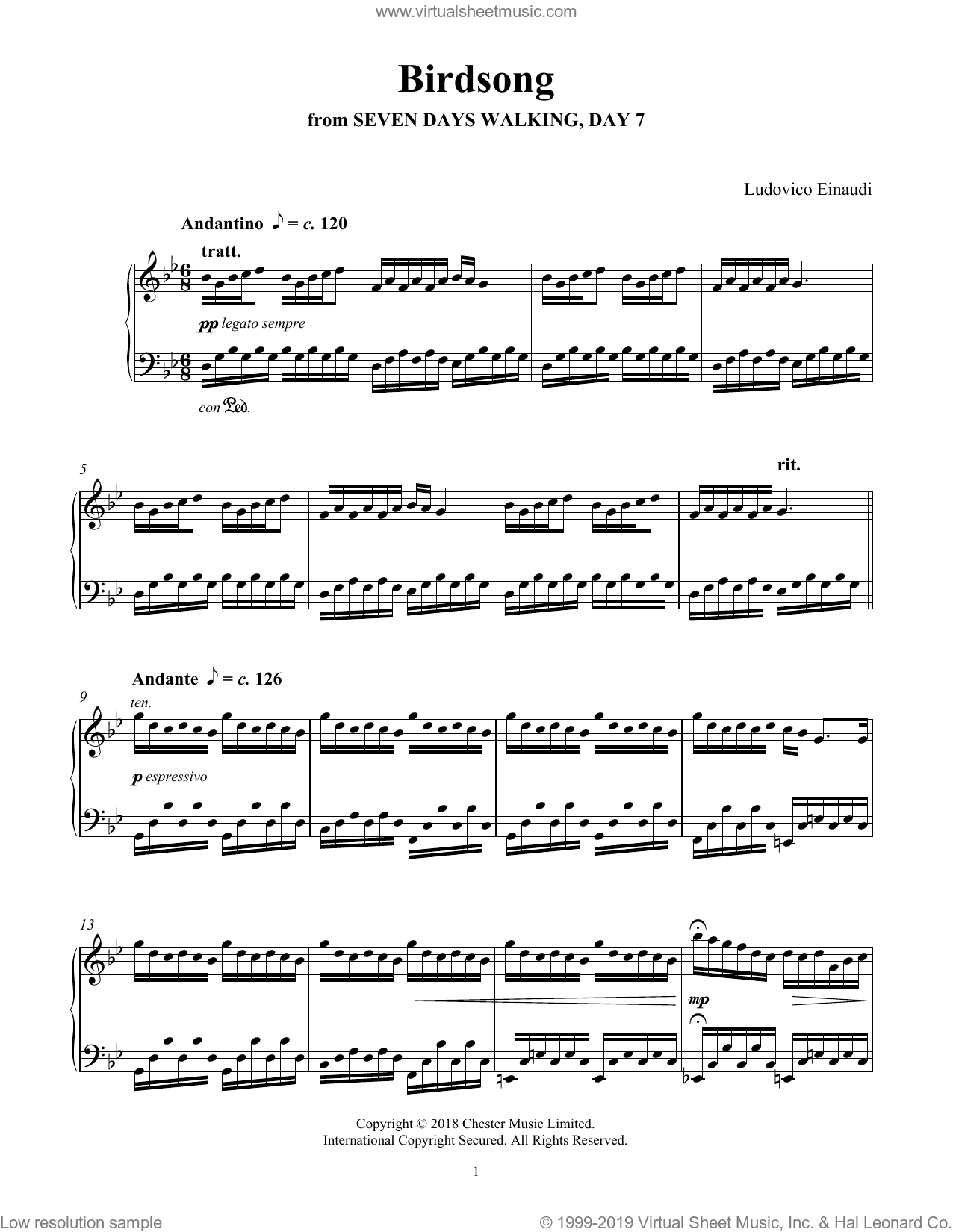 Birdsong (from Seven Days Walking: Day 7) sheet music for piano solo by Ludovico Einaudi, classical score, intermediate skill level