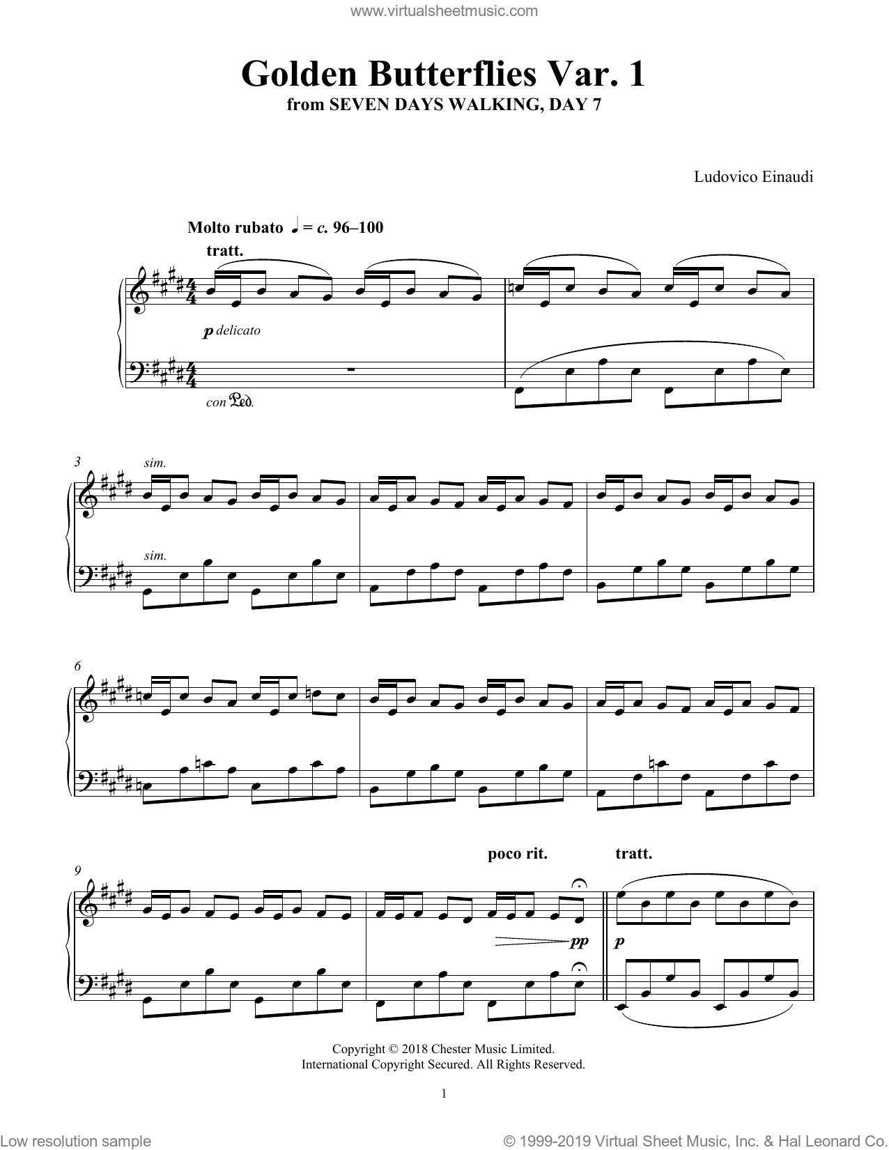 Golden Butterflies Var. 1 (from Seven Days Walking: Day 7) sheet music for piano solo by Ludovico Einaudi, classical score, intermediate skill level