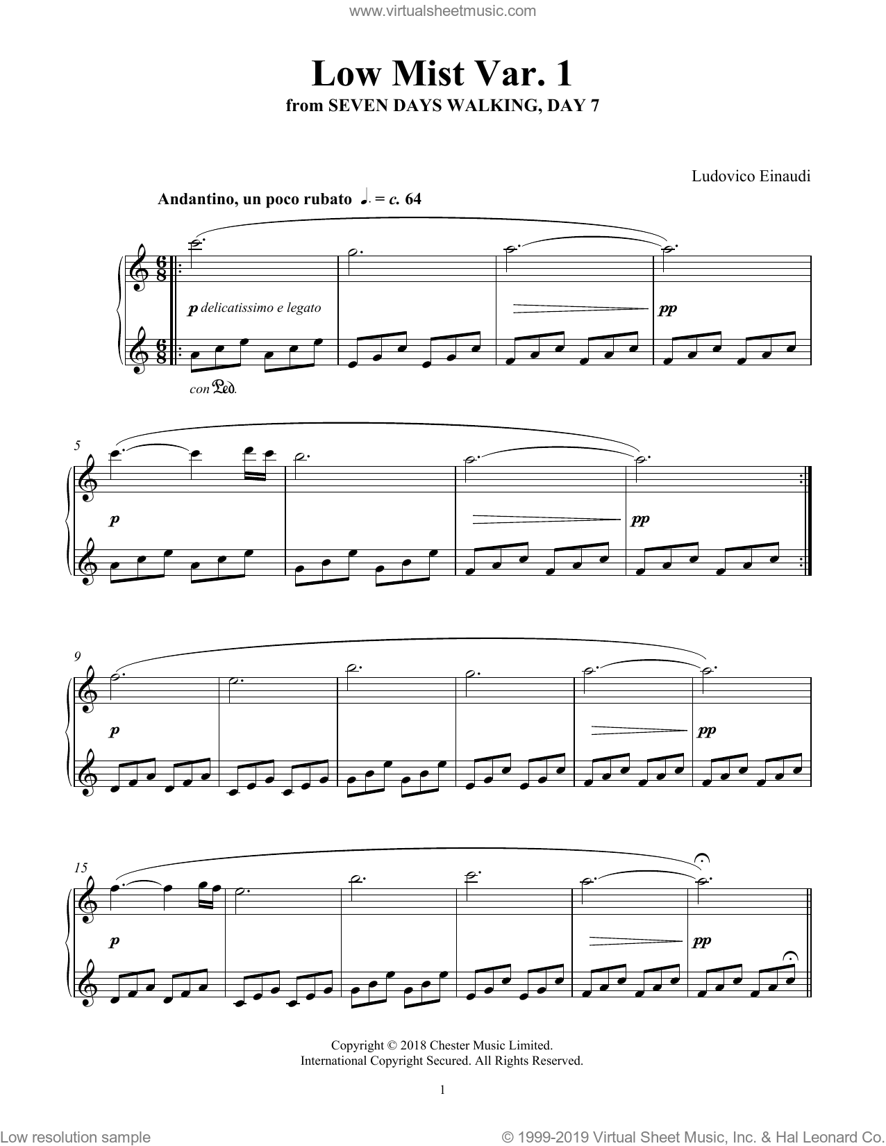 Low Mist Var. 1 (from Seven Days Walking: Day 7) sheet music for piano solo by Ludovico Einaudi, classical score, intermediate skill level