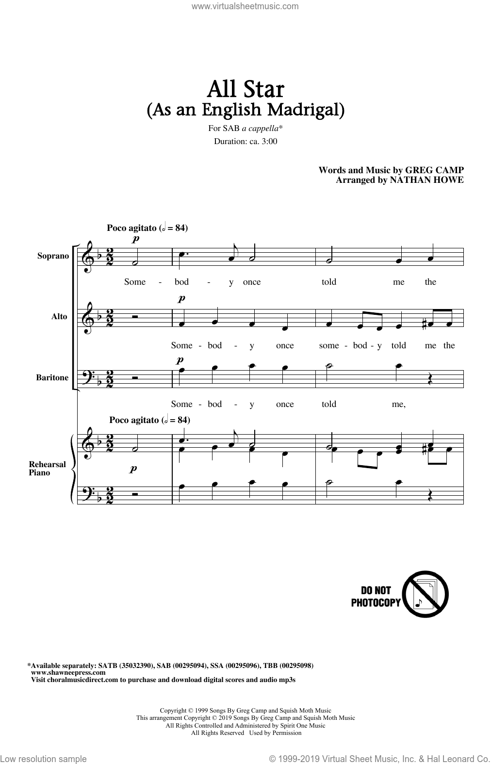 All Star (As an English Madrigal) (arr. Nathan Howe) sheet music for choir (SAB: soprano, alto, bass) by Smash Mouth, Nathan Howe and Greg Camp, intermediate skill level