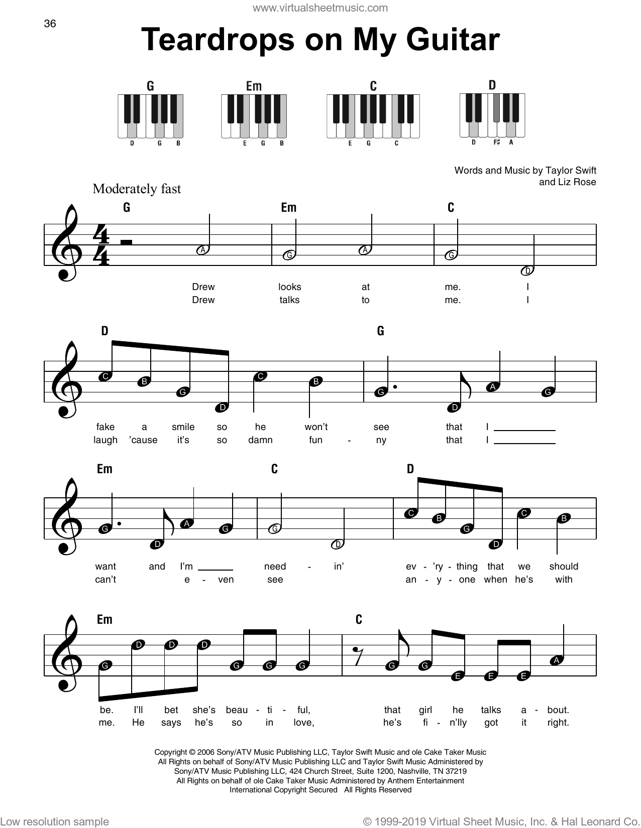 Teardrops On My Guitar, (beginner) sheet music for piano solo by Taylor Swift and Liz Rose, beginner skill level
