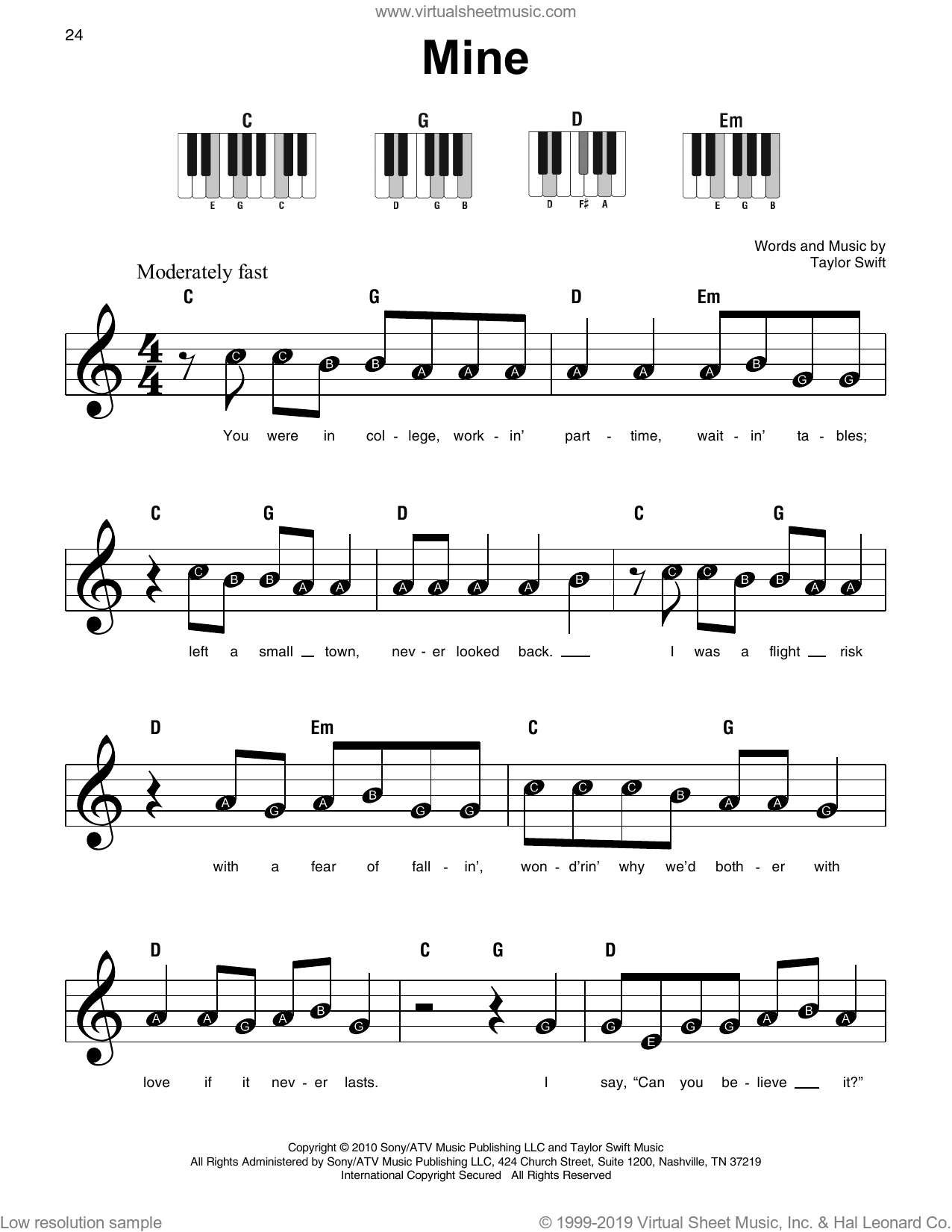 Mine sheet music for piano solo by Taylor Swift, beginner skill level