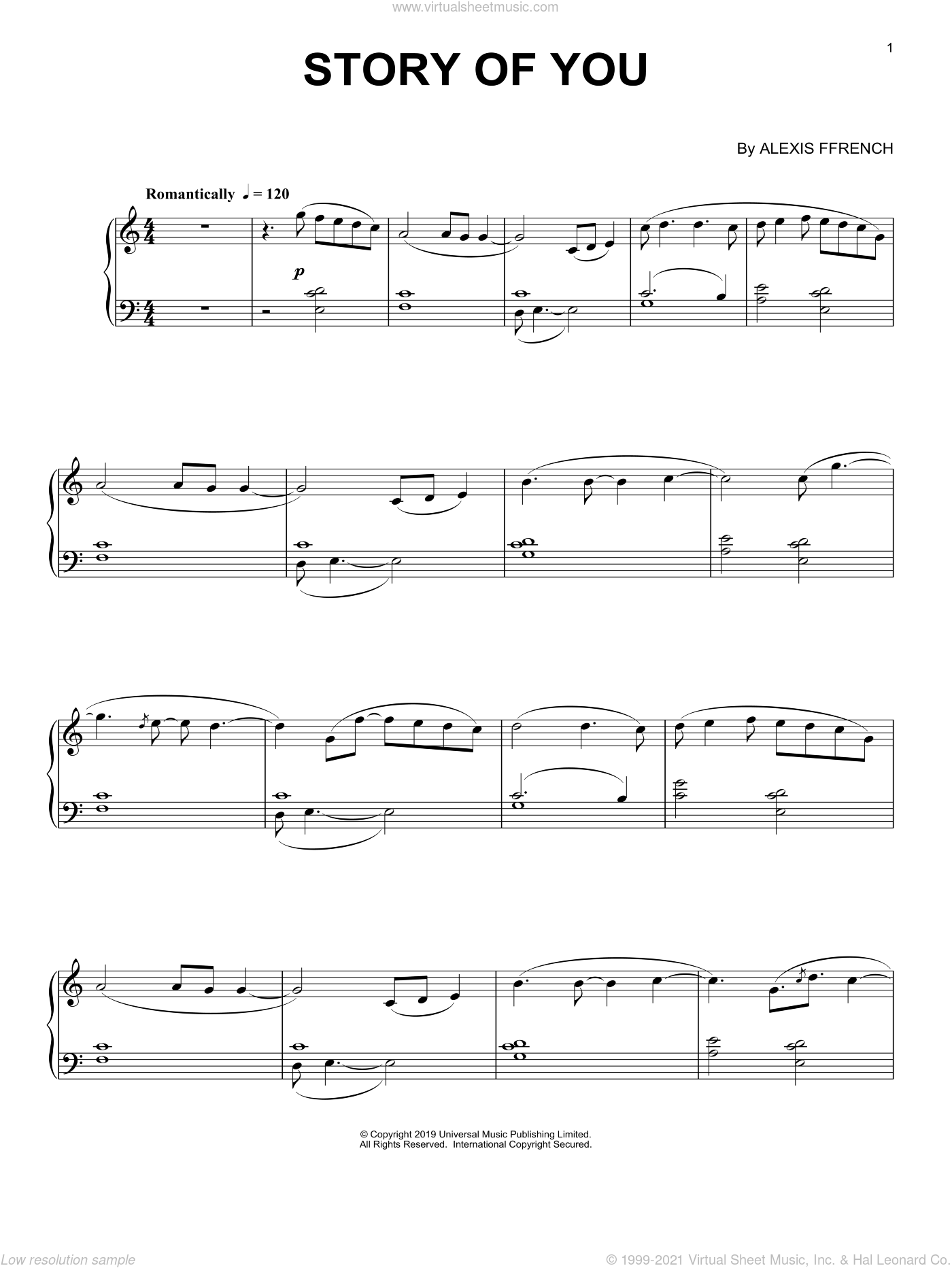 Story Of You sheet music for piano solo by Alexis Ffrench, classical score, intermediate skill level