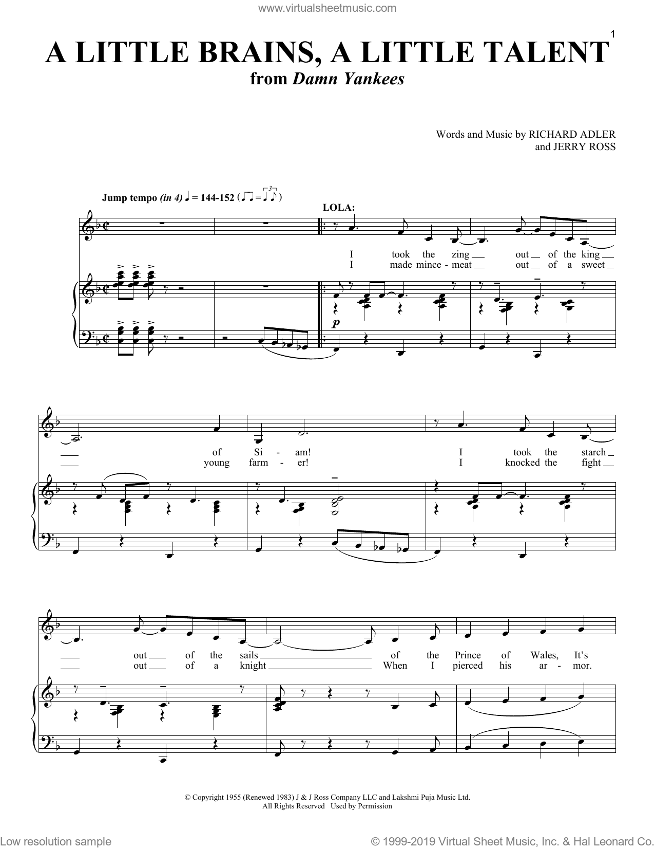 A Little Brains, A Little Talent (from Damn Yankees) sheet music for voice and piano by Richard Adler, Richard Walters, Jerry Ross and Richard Adler and Jerry Ross, intermediate skill level