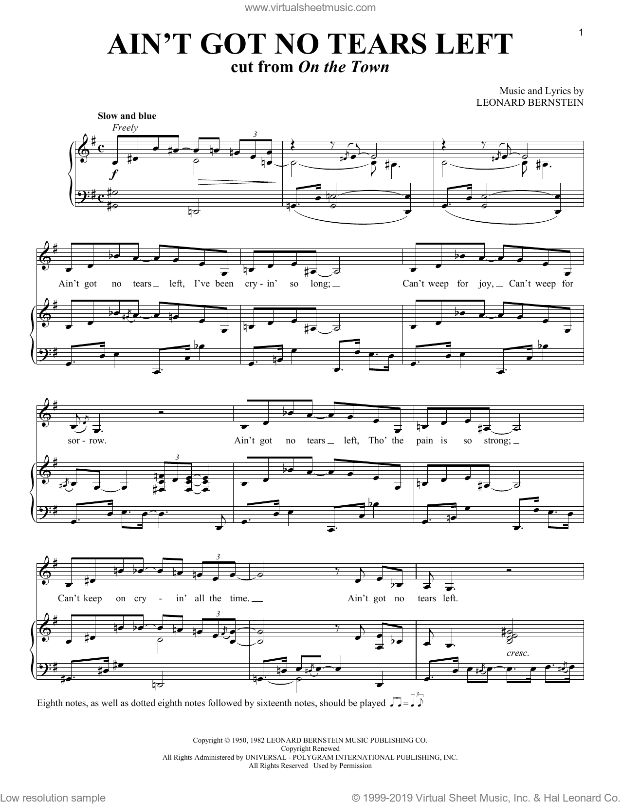 Ain't Got No Tears Left (from On the Town) sheet music for voice and piano by Leonard Bernstein and Richard Walters, intermediate skill level