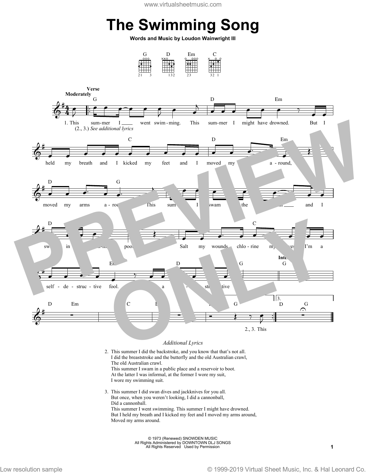 The Swimming Song sheet music for guitar solo (chords) by Loudon Wainwright III, easy guitar (chords)