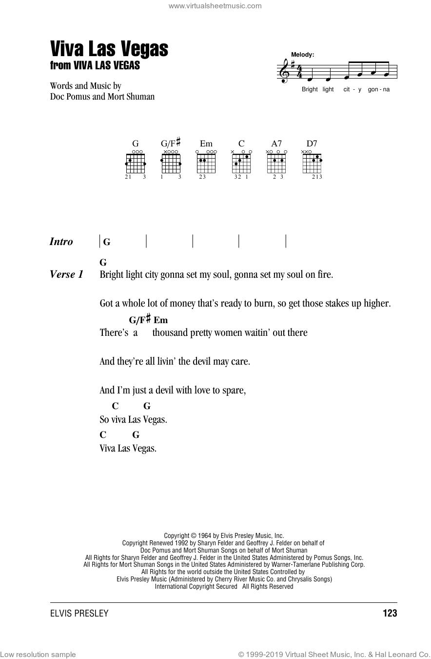 Viva Las Vegas sheet music for guitar (chords) by Elvis Presley, Doc Pomus and Mort Shuman, intermediate skill level