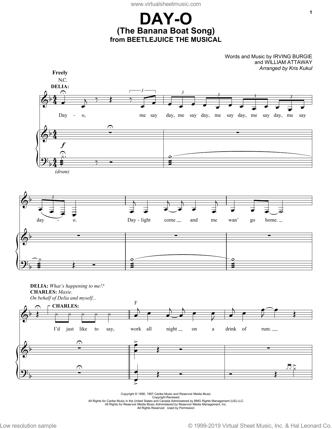 Day-O (The Banana Boat Song) (from Beetlejuice The Musical) (arr. Kris Kulul) sheet music for voice and piano by Eddie Perfect, Kris Kulul, Harry Belafonte, Irving Burgie and William Attaway, intermediate skill level