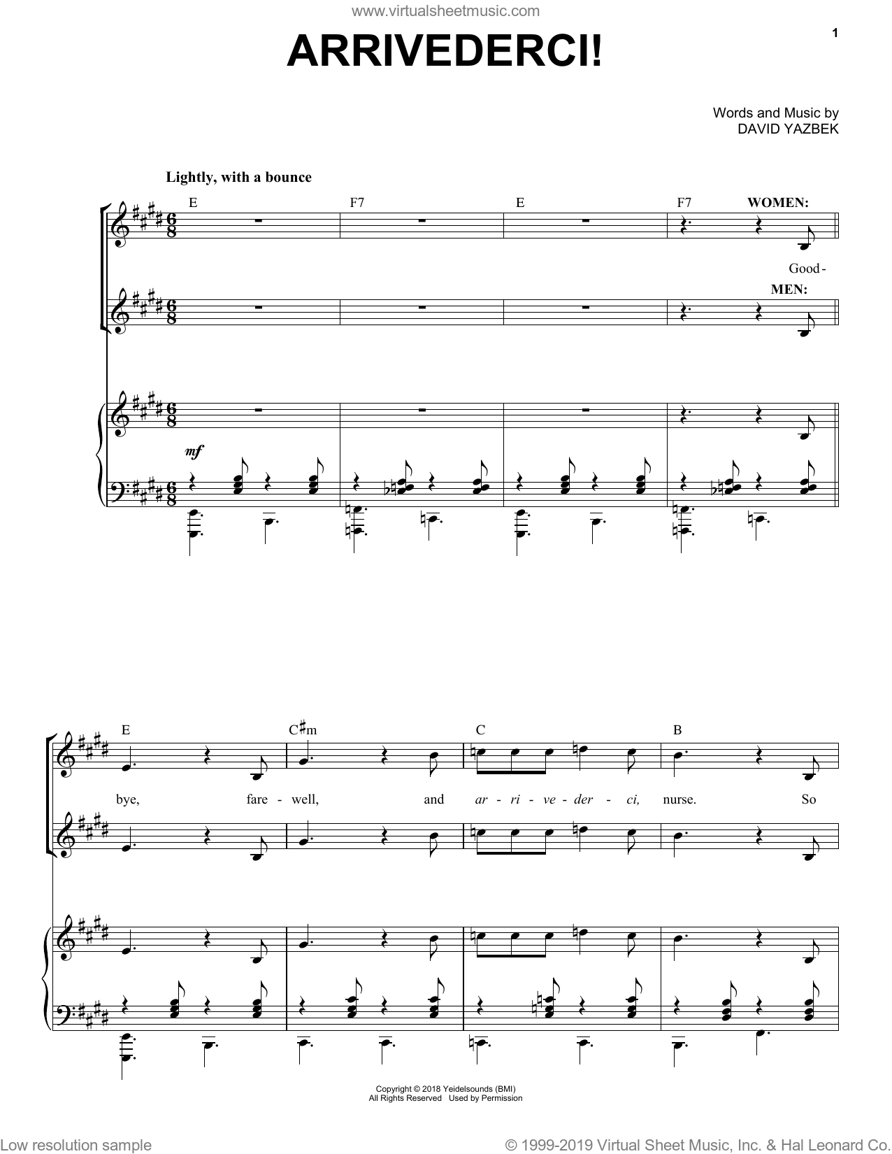 Arrivederci! (from the musical Tootsie) sheet music for voice and piano by David Yazbek, intermediate skill level