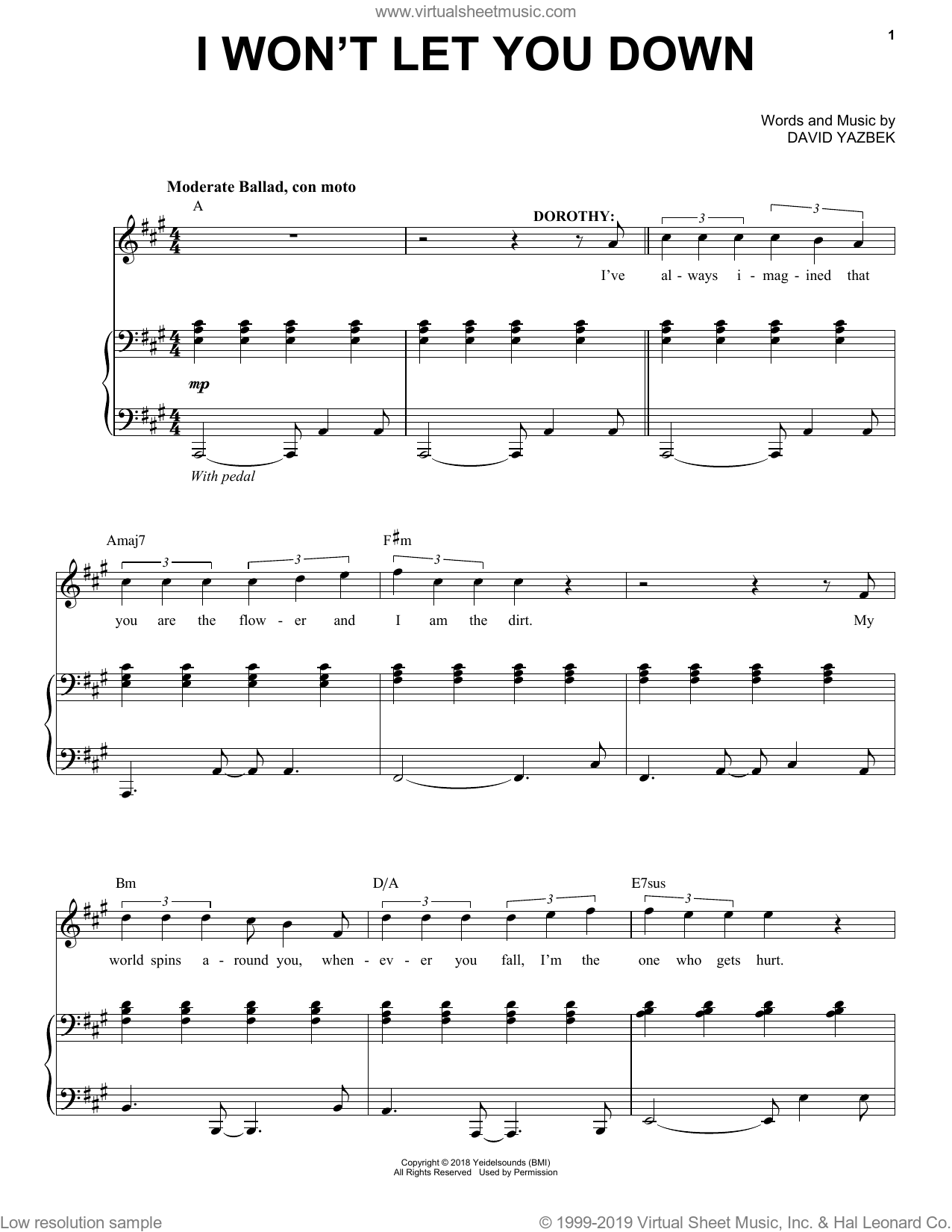I Won't Let You Down (from the musical Tootsie) sheet music for voice and piano by David Yazbek, intermediate skill level
