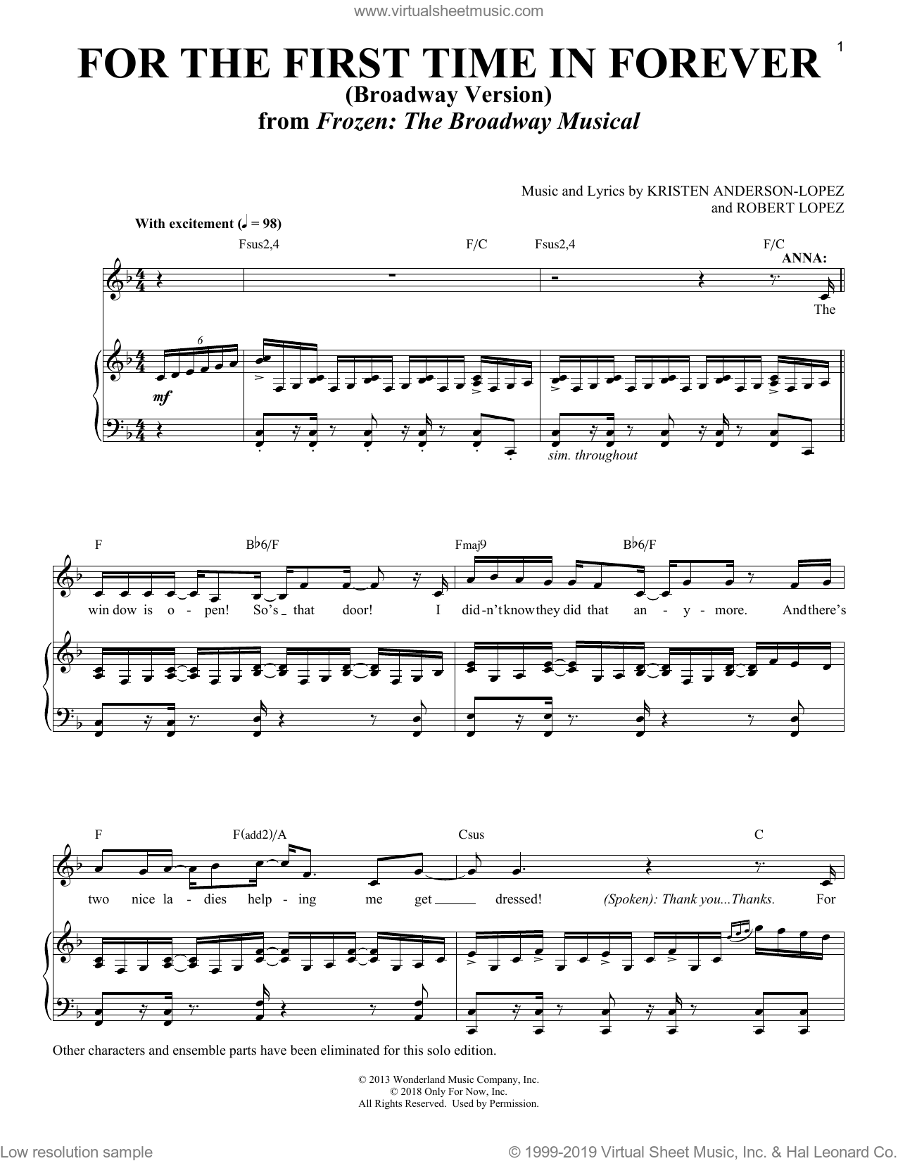 For The First Time In Forever [Solo version] (from Frozen: The Broadway Musical) sheet music for voice and piano by Robert Lopez, Richard Walters, Kristen Anderson-Lopez and Kristen Anderson-Lopez & Robert Lopez, intermediate skill level