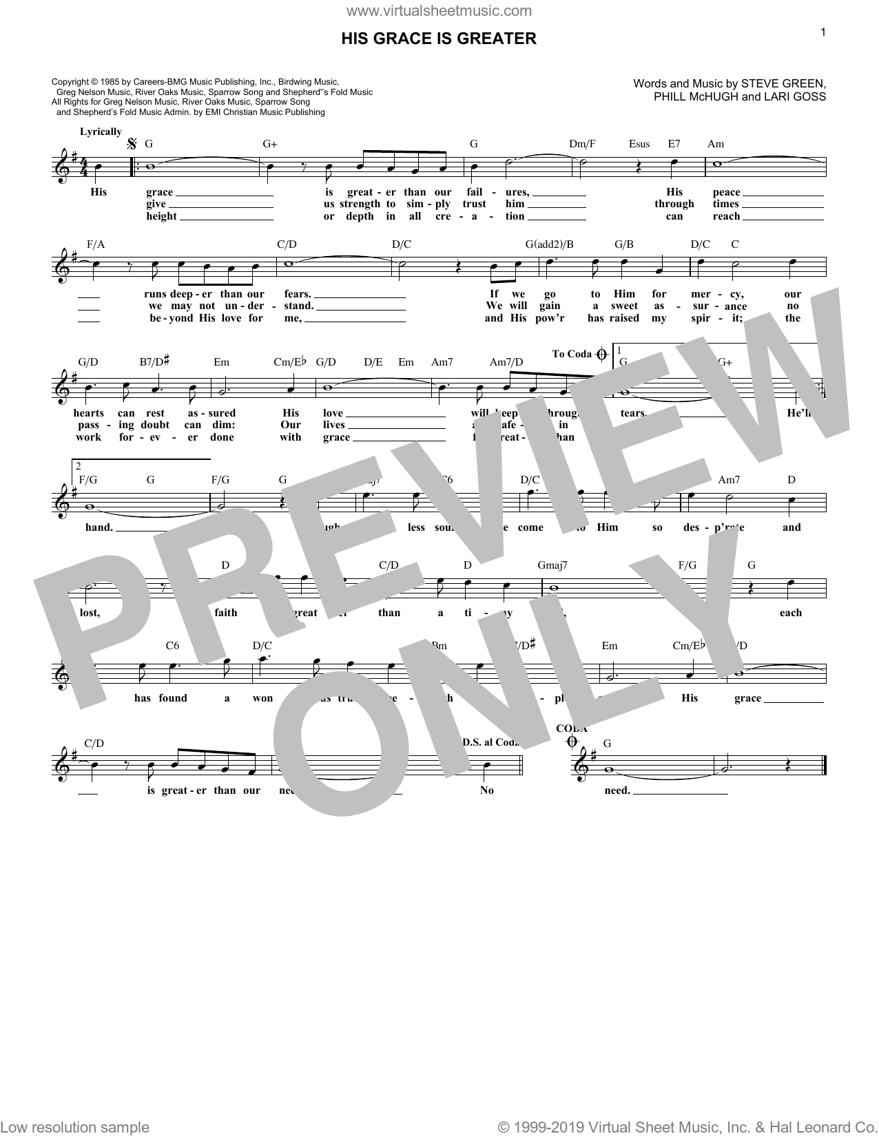 His Grace Is Greater sheet music for voice and other instruments (fake book) by Greg Nelson, Lari Goss, Phill McHugh and Steve Green, intermediate skill level