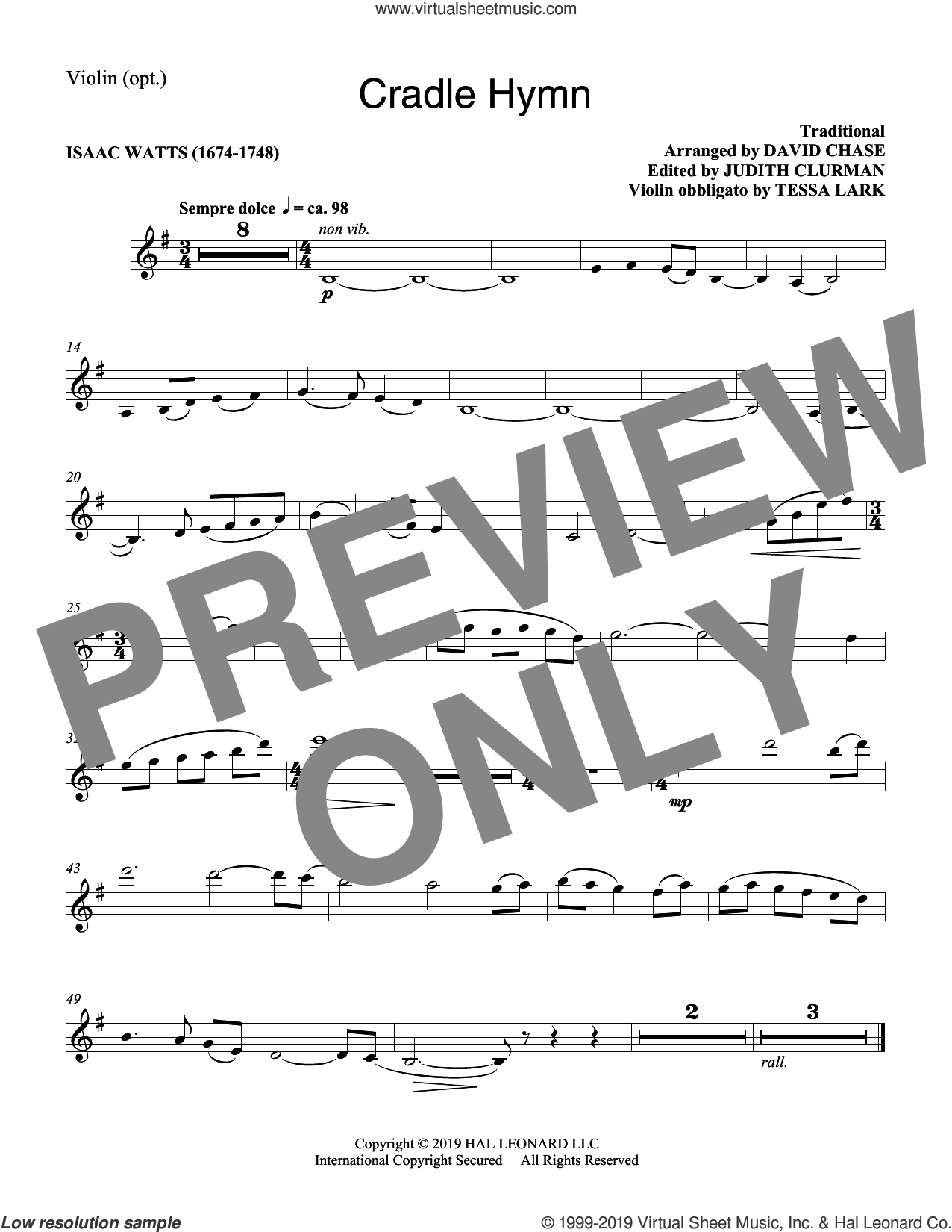 Cradle Hymn (arr. David Chase) sheet music for orchestra/band (violin) by Traditional Hymn and David Chase, intermediate skill level