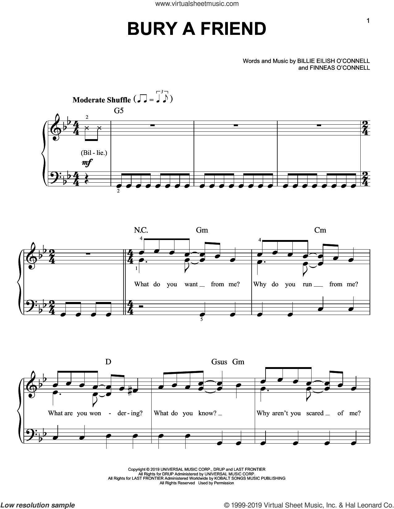 bury a friend sheet music for piano solo by Billie Eilish, easy skill level