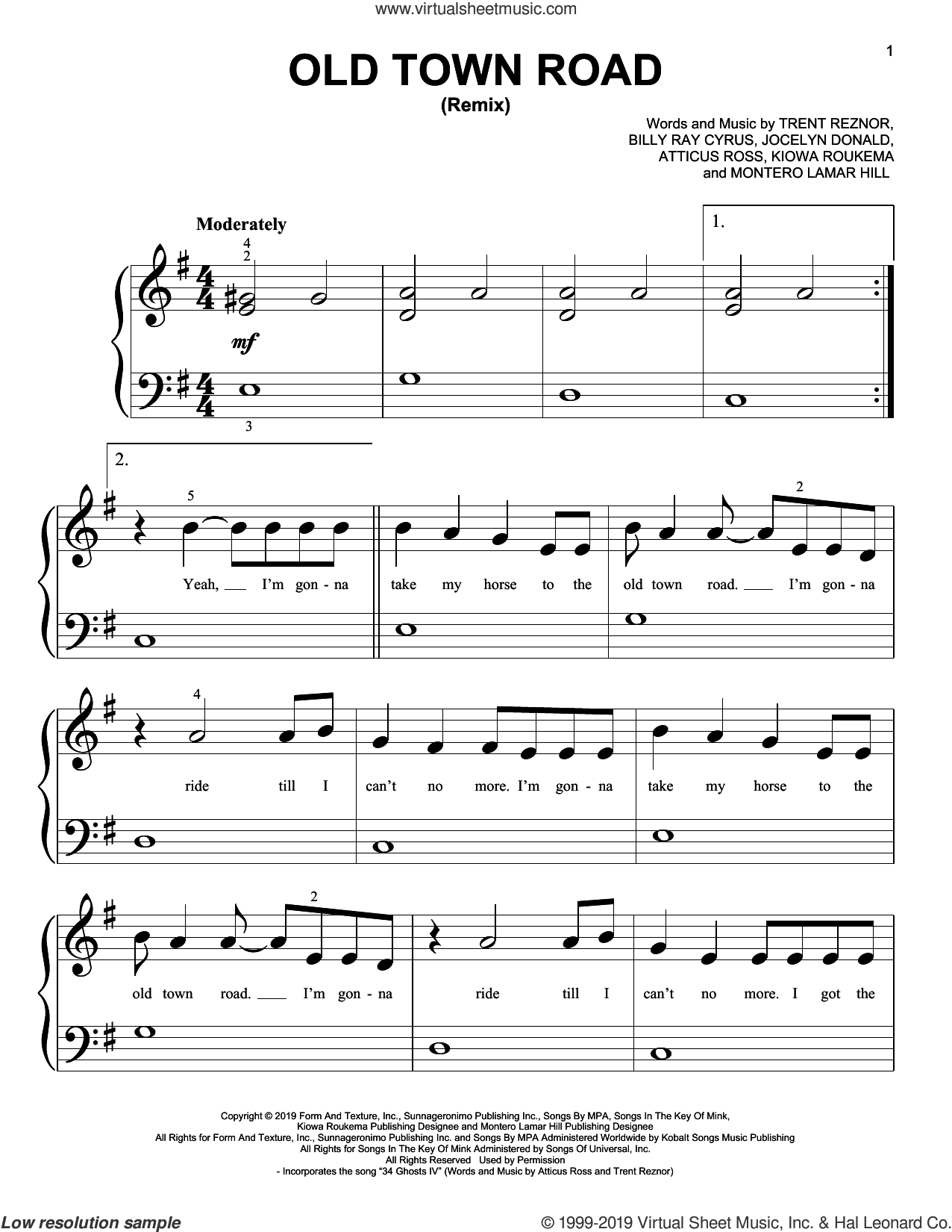 Old Town Road (Remix) sheet music for piano solo (big note book) by Lil Nas X feat. Billy Ray Cyrus, Atticus Ross, Billy Ray Cyrus, Jocelyn Donald, Kiowa Roukema, Montero Lamar Hill and Trent Reznor, easy piano (big note book)