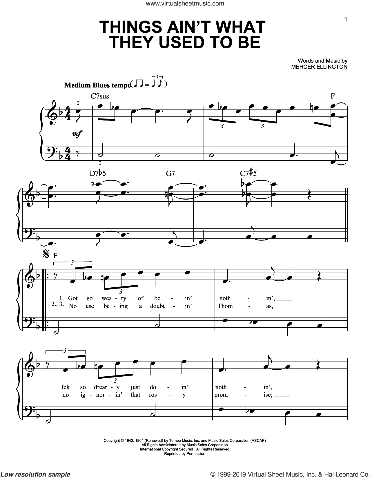 Things Ain't What They Used To Be sheet music for piano solo by Duke Ellington and Mercer Ellington, beginner skill level