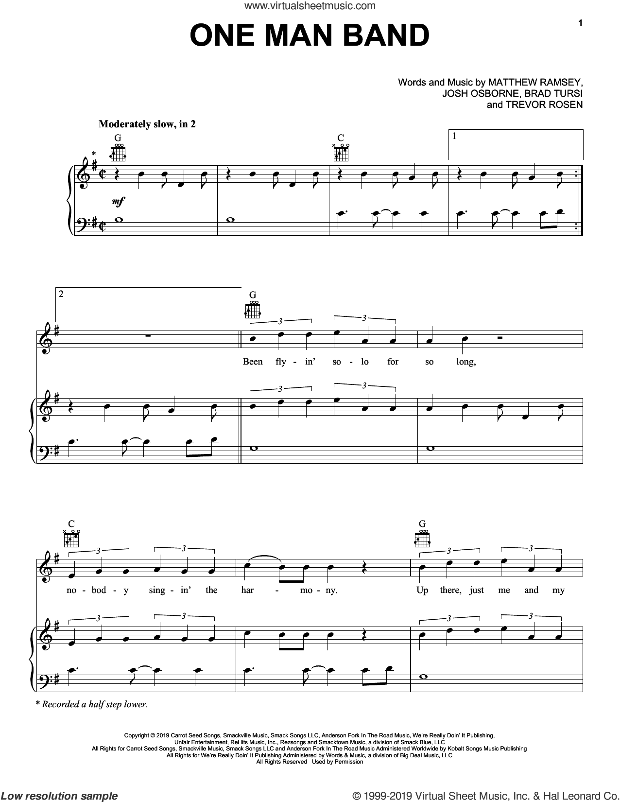 One Man Band sheet music for voice, piano or guitar by Old Dominion, Brad Tursi, Josh Osborne, Matthew Ramsey and Trevor Rosen, intermediate skill level