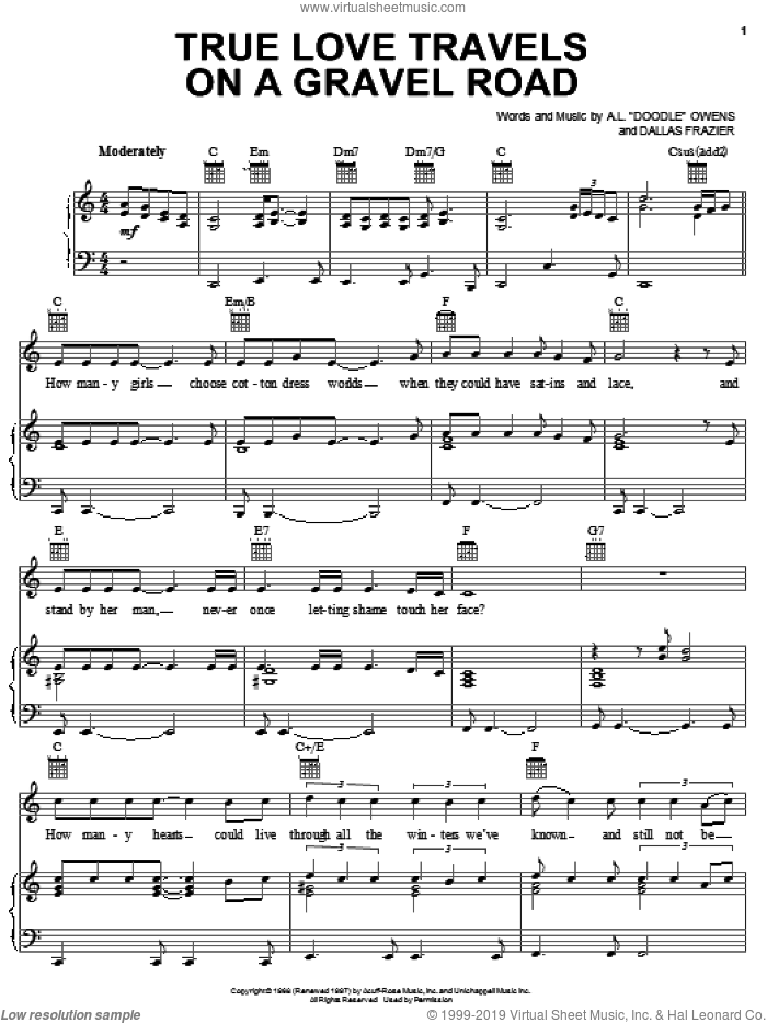 True Love Travels On A Gravel Road sheet music for voice, piano or guitar by Elvis Presley, A.L. 'Doodle' Owens and Dallas Frazier, intermediate skill level