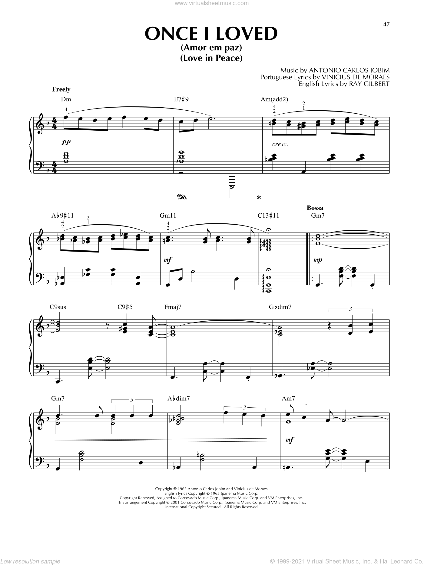 Once I Loved (Amor Em Paz) (Love In Peace) [Jazz version] (arr. Brent Edstrom) sheet music for piano solo by Antonio Carlos Jobim, Brent Edstrom and Vinicius de Moraes, intermediate skill level
