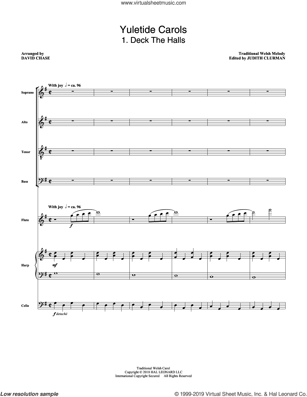 Yuletide Carols (COMPLETE) sheet music for orchestra/band by David Chase and Miscellaneous, intermediate skill level