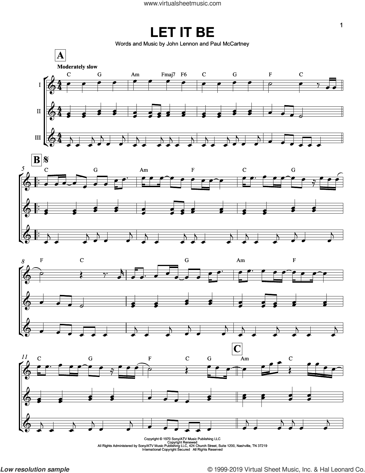 Let It Be sheet music for ukulele ensemble by The Beatles, John Lennon and Paul McCartney, intermediate skill level