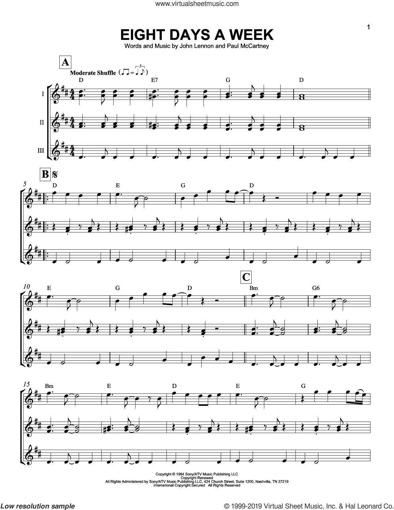 Eight Days A Week sheet music for ukulele ensemble by The Beatles, John Lennon and Paul McCartney, intermediate skill level