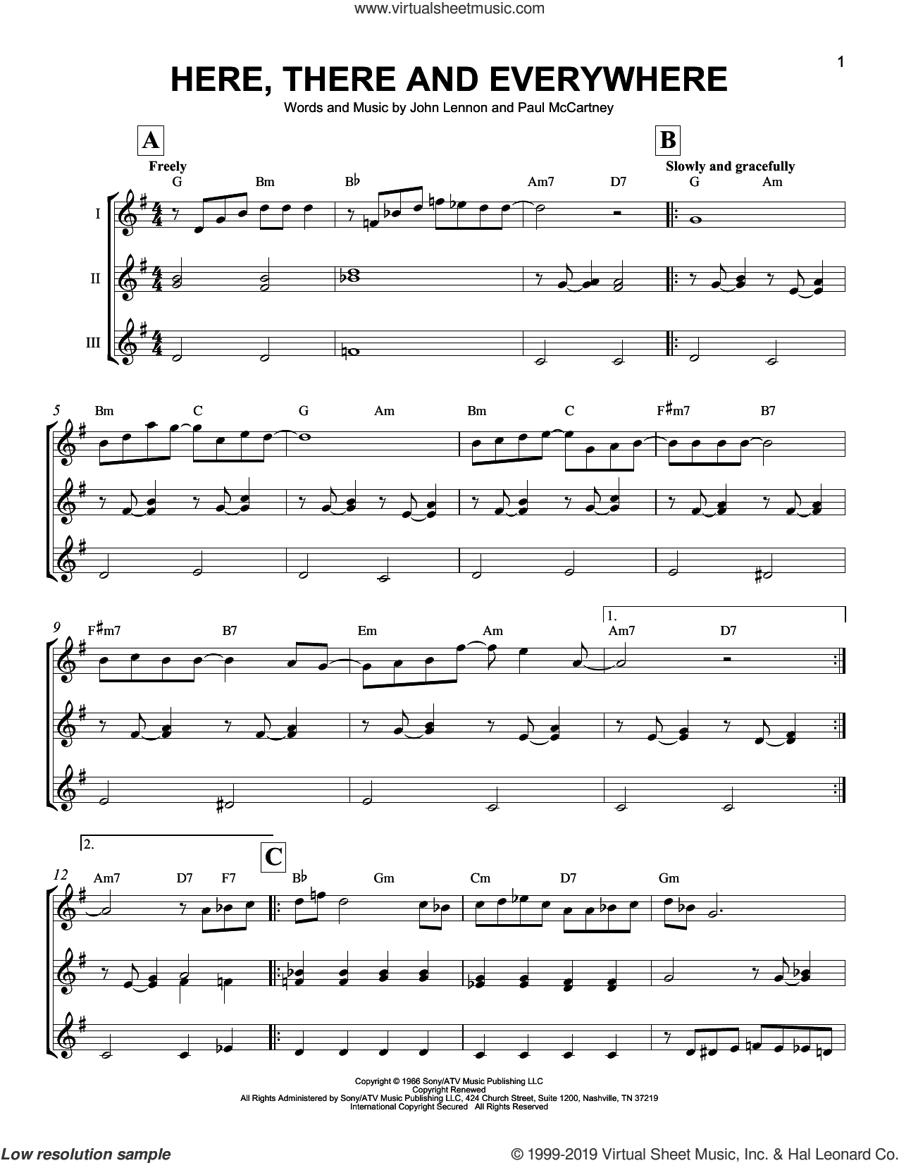 Here, There And Everywhere sheet music for ukulele ensemble by The Beatles, John Lennon and Paul McCartney, intermediate skill level