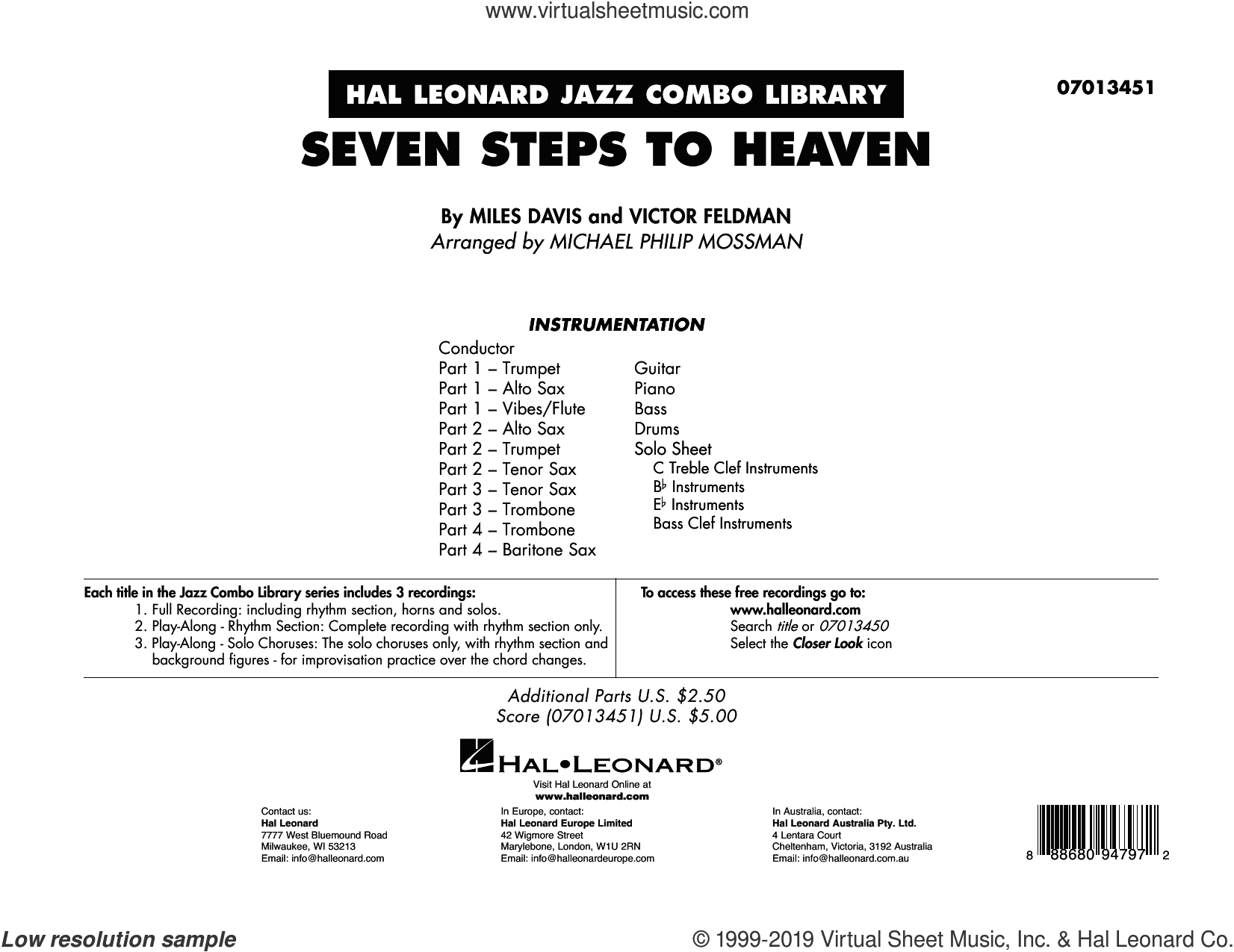 Seven Steps to Heaven (arr. Michael Philip Mossman) (COMPLETE) sheet music for jazz band by Miles Davis, Michael Philip Mossman and Victor Feldman, intermediate skill level
