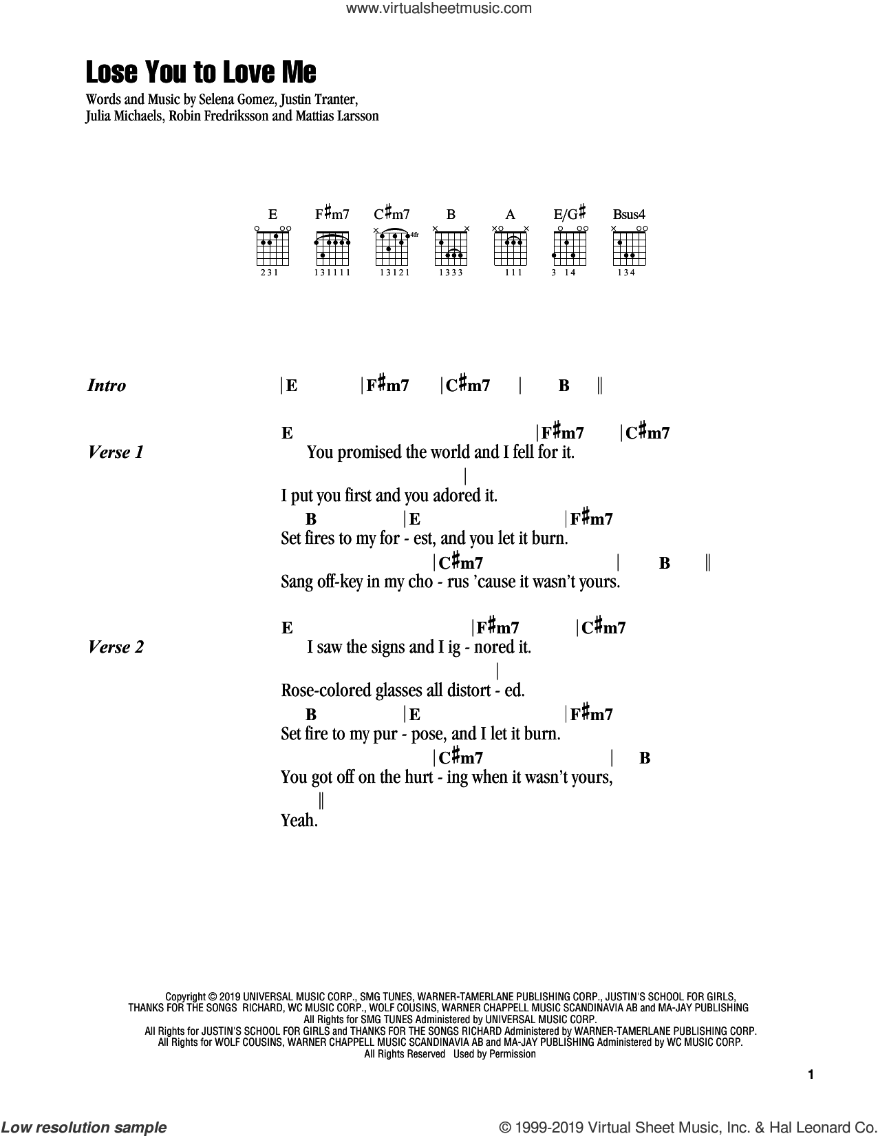 Lose You To Love Me sheet music for guitar (chords) by Selena Gomez, Julia Michaels, Justin Tranter, Mattias Larsson and Robin Fredriksson, intermediate skill level