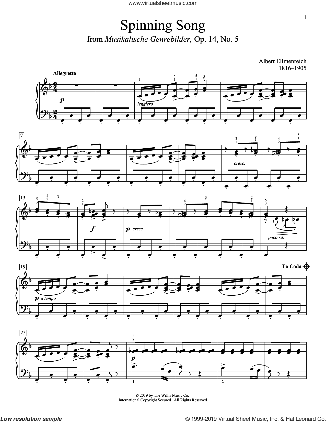 Spinning Song sheet music for piano solo (elementary) by Albert Ellmenreich, classical score, beginner piano (elementary)