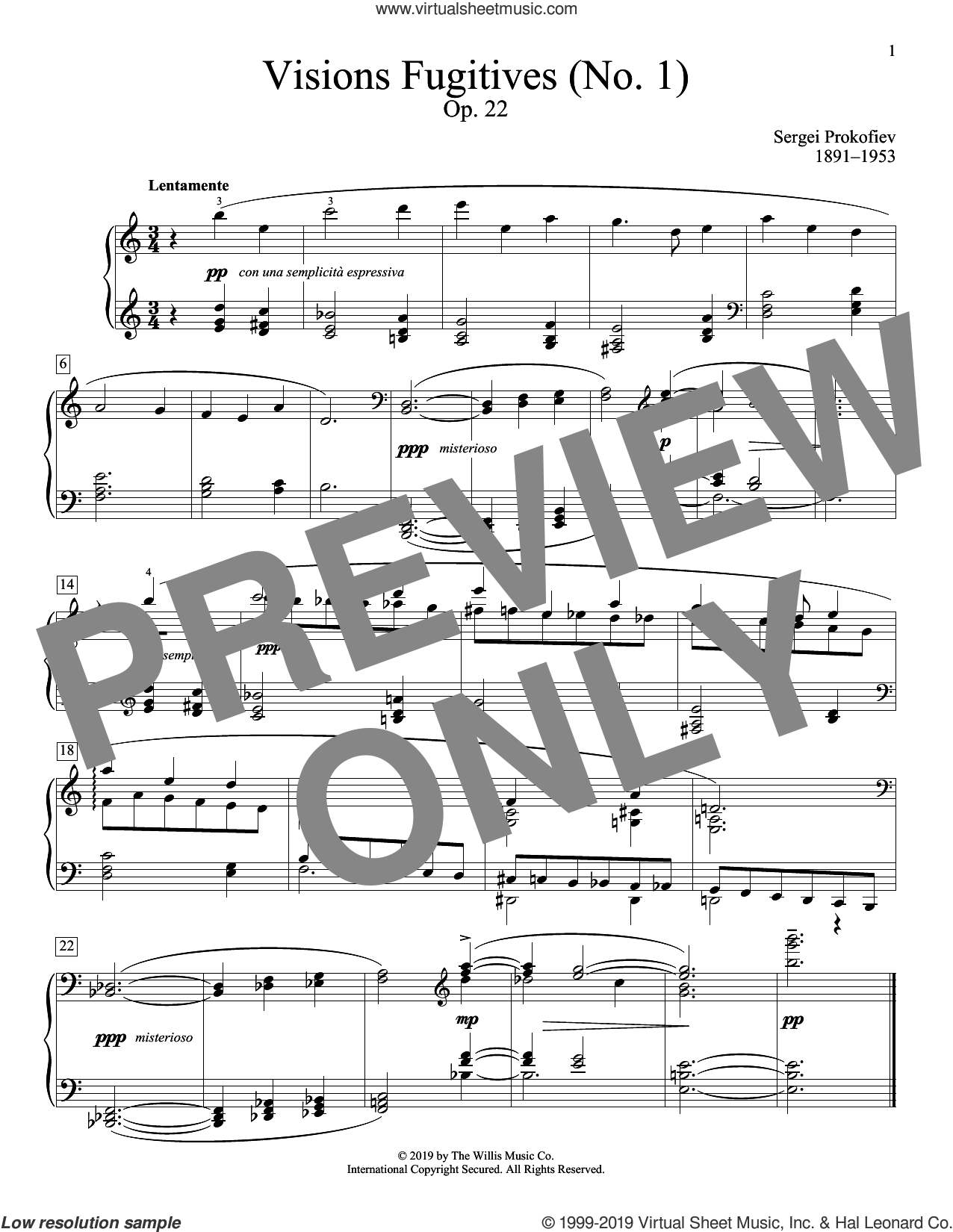 Visions Fugitives, Opus 22, No. 1 sheet music for piano solo (elementary) by Sergei Prokofiev and Alexandre Dossin (ed.), classical score, beginner piano (elementary)