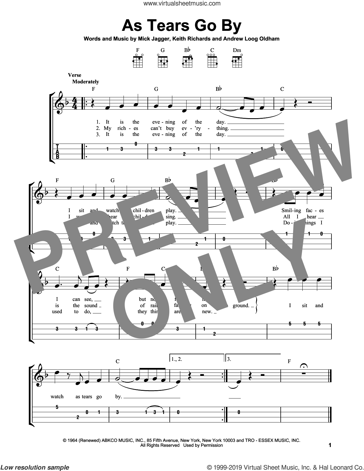 As Tears Go By sheet music for ukulele by The Rolling Stones, Andrew Loog Oldham, Keith Richards and Mick Jagger, intermediate skill level