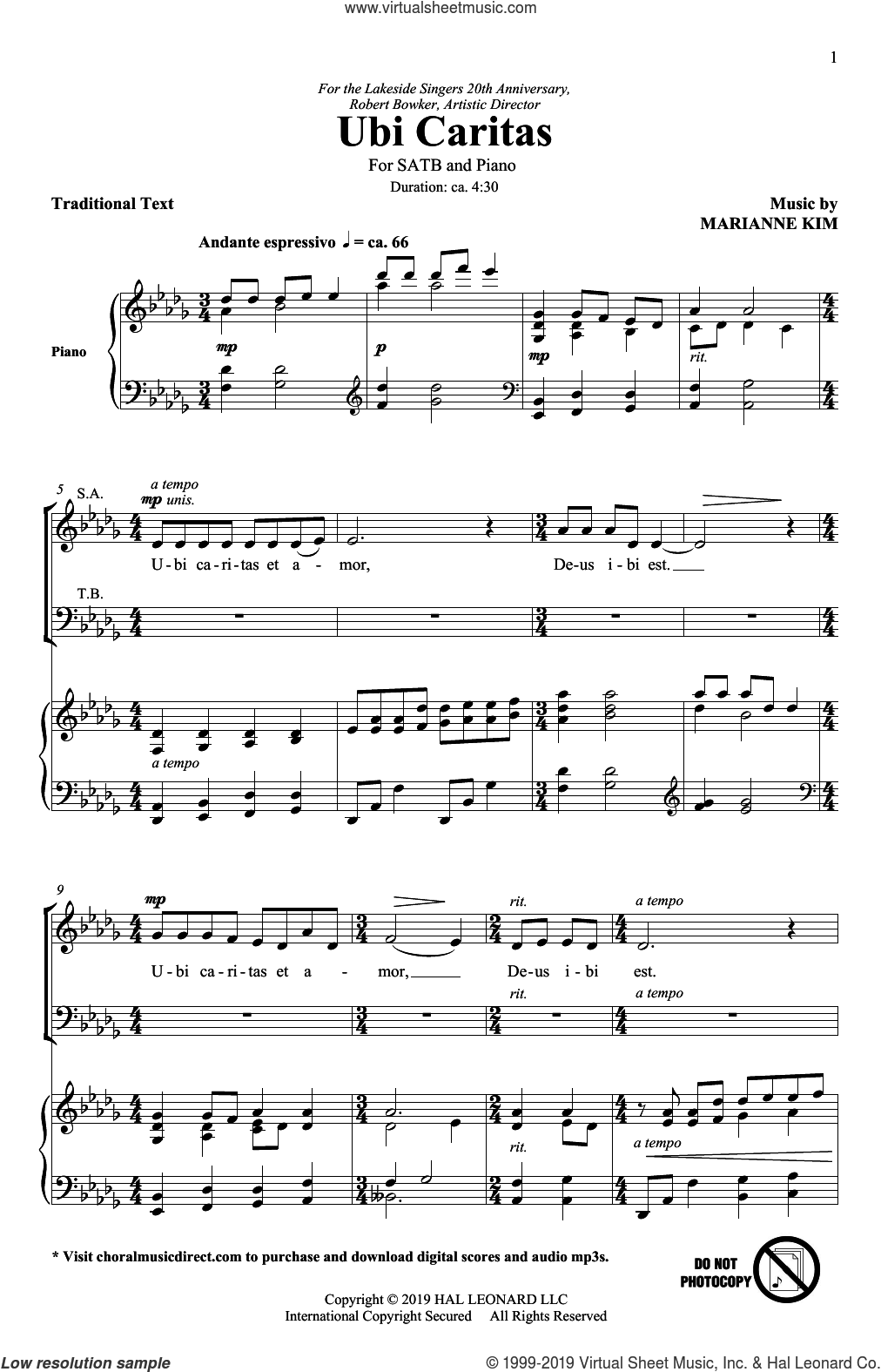 Ubi Caritas sheet music for choir (SATB: soprano, alto, tenor, bass) by Marianne Kim, intermediate skill level