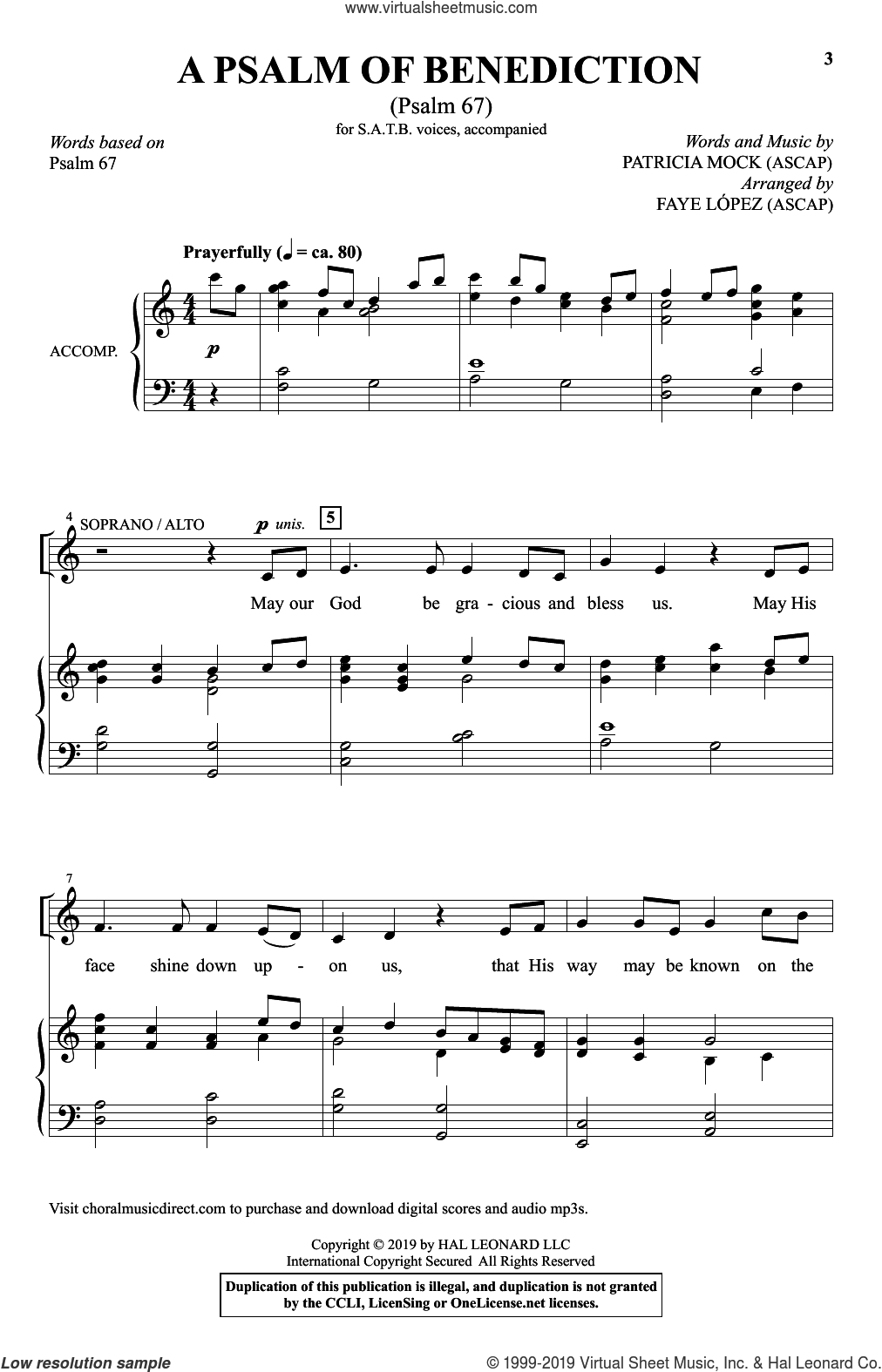 A Psalm Of Benediction (Psalm 67) (arr. Faye Lopez) sheet music for choir (SATB: soprano, alto, tenor, bass) by Patricia Mock and Faye Lopez, intermediate skill level