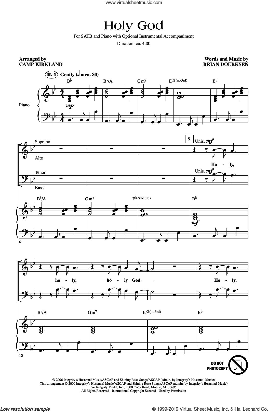 Holy God (arr. Camp Kirkland) sheet music for choir (SATB: soprano, alto, tenor, bass) by Brian Doerksen and Camp Kirkland, intermediate skill level
