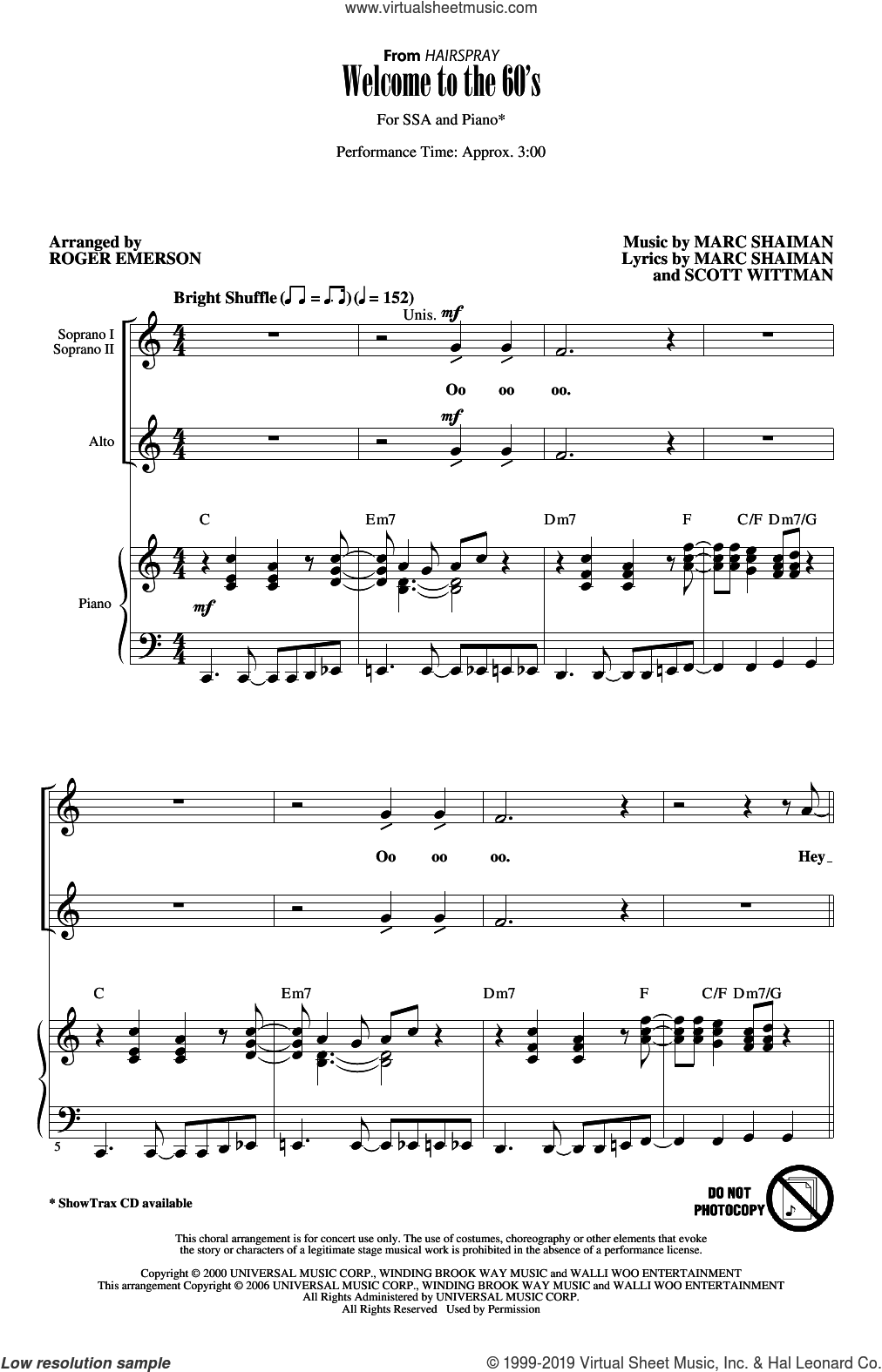 Welcome To The 60's (from Hairspray) (arr. Roger Emerson) sheet music for choir (SSA: soprano, alto) by Marc Shaiman, Roger Emerson, Marc Shaiman and Scott Wittman and Scott Wittman, intermediate skill level