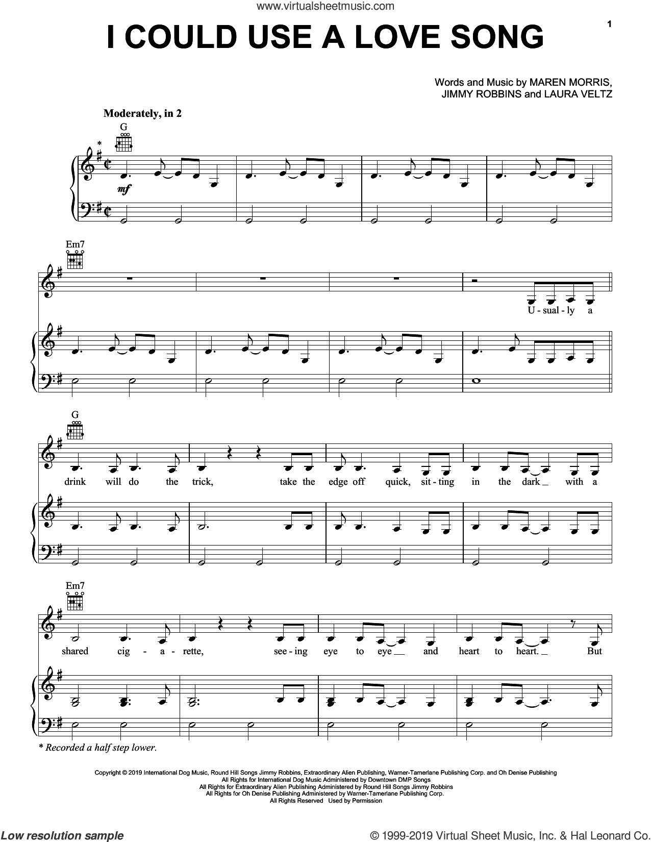 I Could Use A Love Song sheet music for voice, piano or guitar by Maren Morris, Jimmy Robbins and Laura Veltz, intermediate skill level