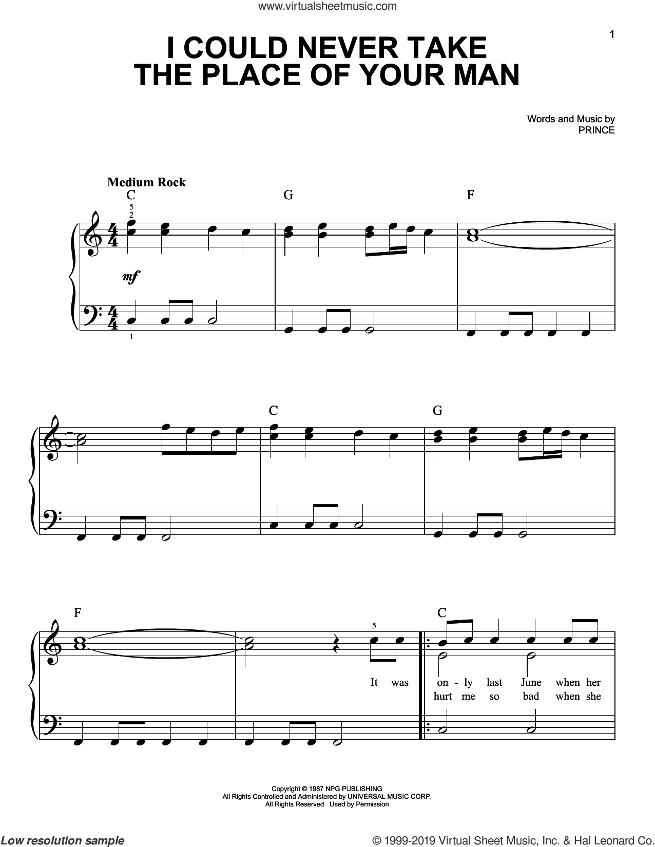 I Could Never Take The Place Of Your Man sheet music for piano solo by Prince, easy skill level