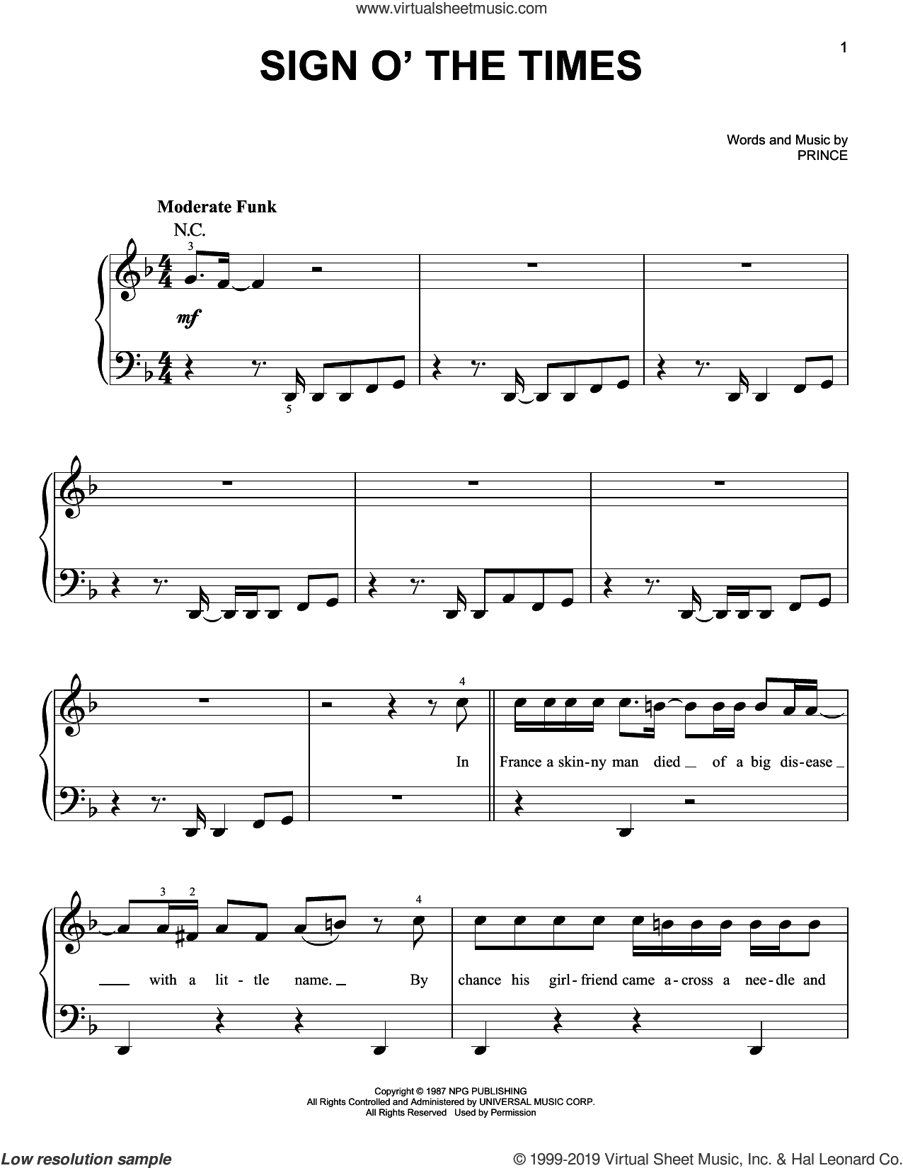 Sign O' The Times sheet music for piano solo by Prince, easy skill level