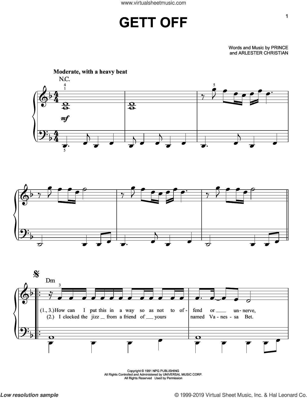 Gett Off sheet music for piano solo by Prince and Arlester Christian, easy skill level