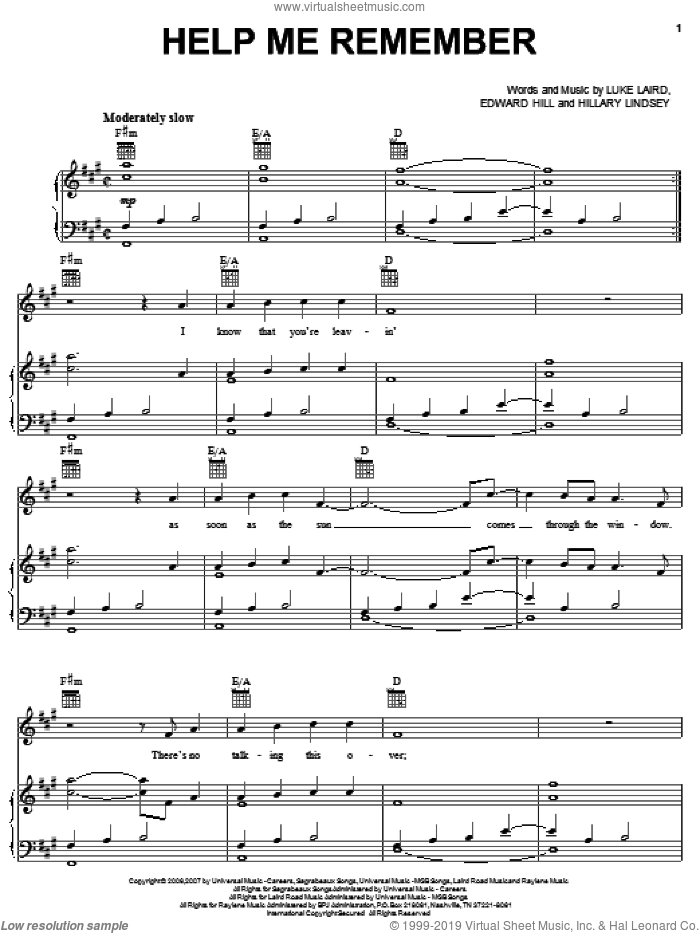 Help Me Remember sheet music for voice, piano or guitar by Luke Laird