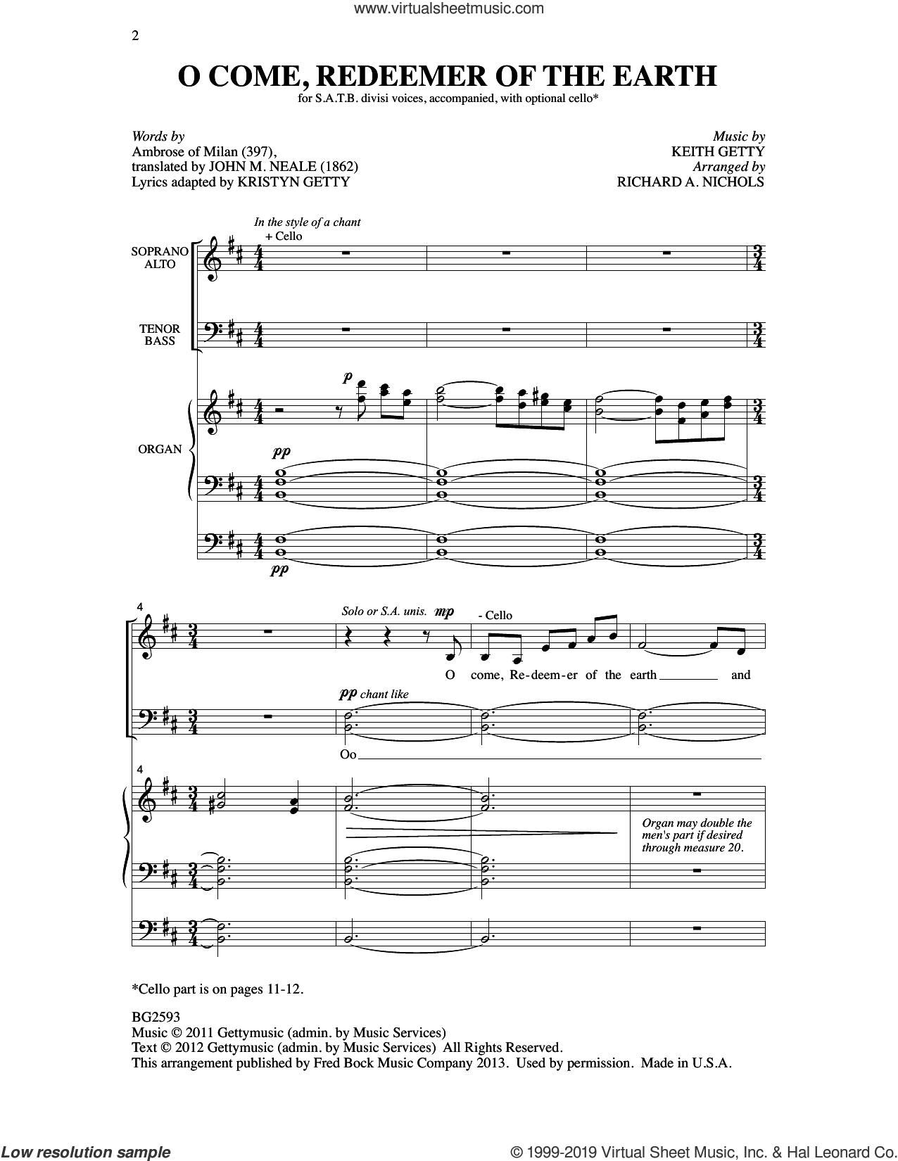 O Come, Redeemer Of The Earth (arr. Richard A. Nichols) sheet music for choir (SATB: soprano, alto, tenor, bass) by Keith Getty and Richard A. Nichols, intermediate skill level