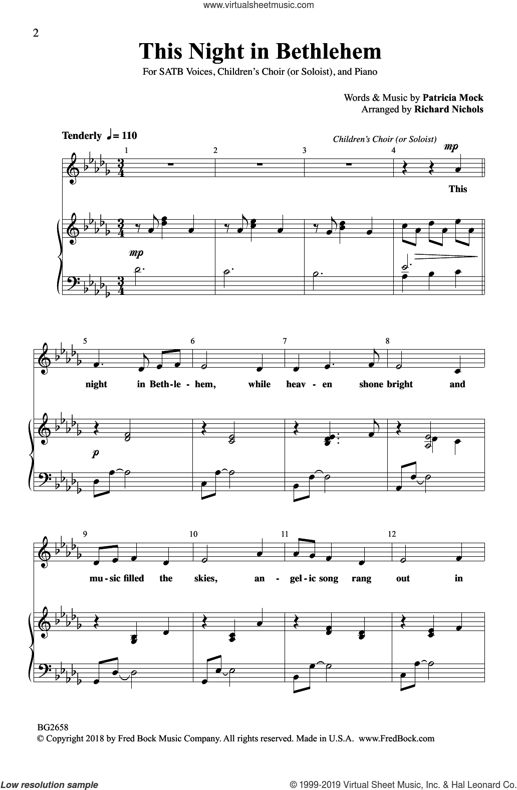 This Night In Bethlehem (arr. Richard Nichols) sheet music for choir (SATB: soprano, alto, tenor, bass) by Patricia Mock, intermediate skill level