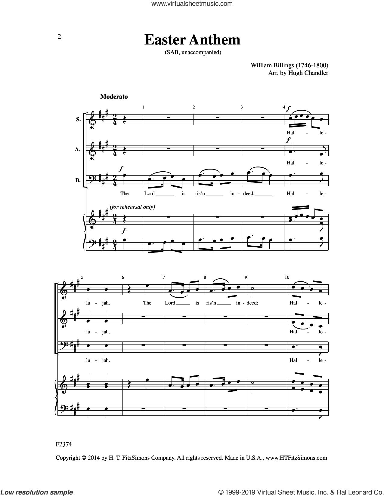 Easter Anthem (arr. Hugh Chandler) sheet music for choir (SAB: soprano, alto, bass) by William Billings and Hugh Chandler, intermediate skill level