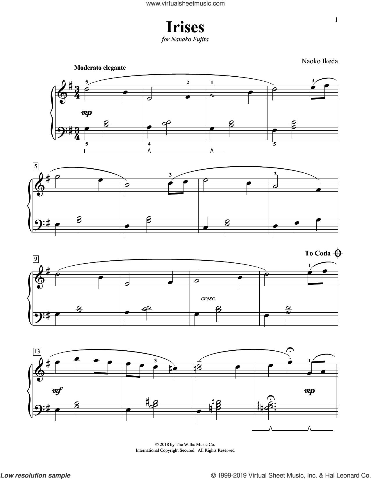 Irises sheet music for piano solo (elementary) by Naoko Ikeda, beginner piano (elementary)