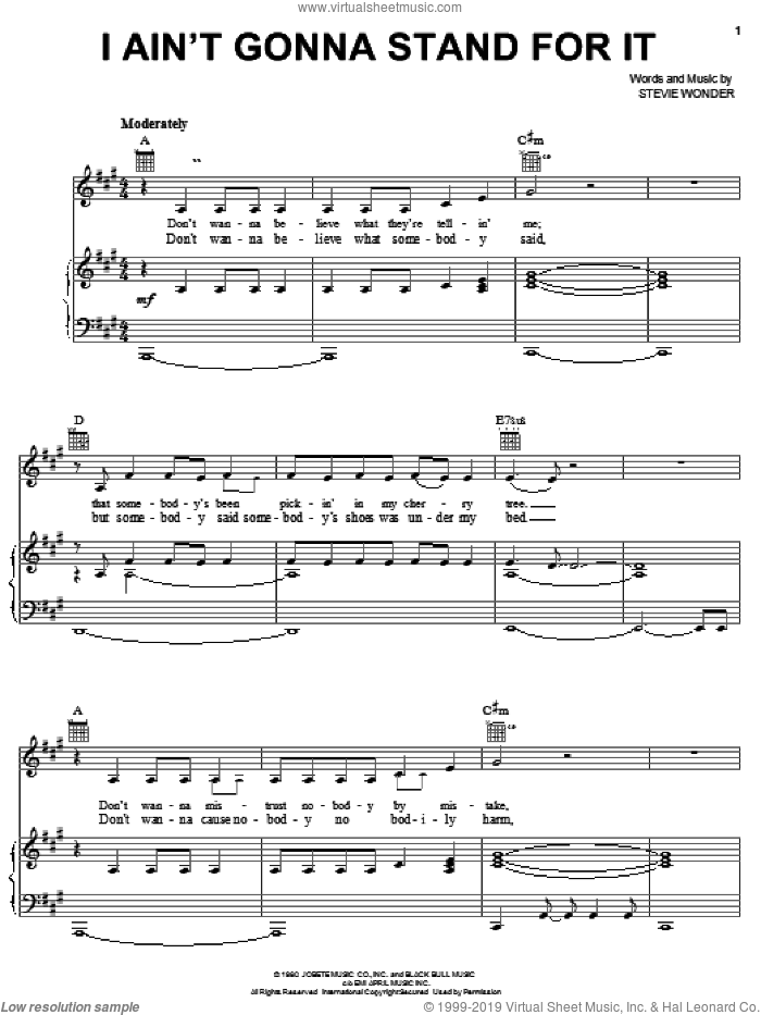 I Ain't Gonna Stand For It sheet music for voice, piano or guitar by Stevie Wonder, intermediate skill level