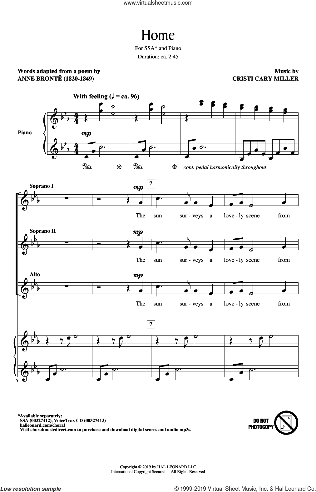 Home sheet music for choir (SSA: soprano, alto) by Cristi Cary Miller and Anne Bronte, intermediate skill level